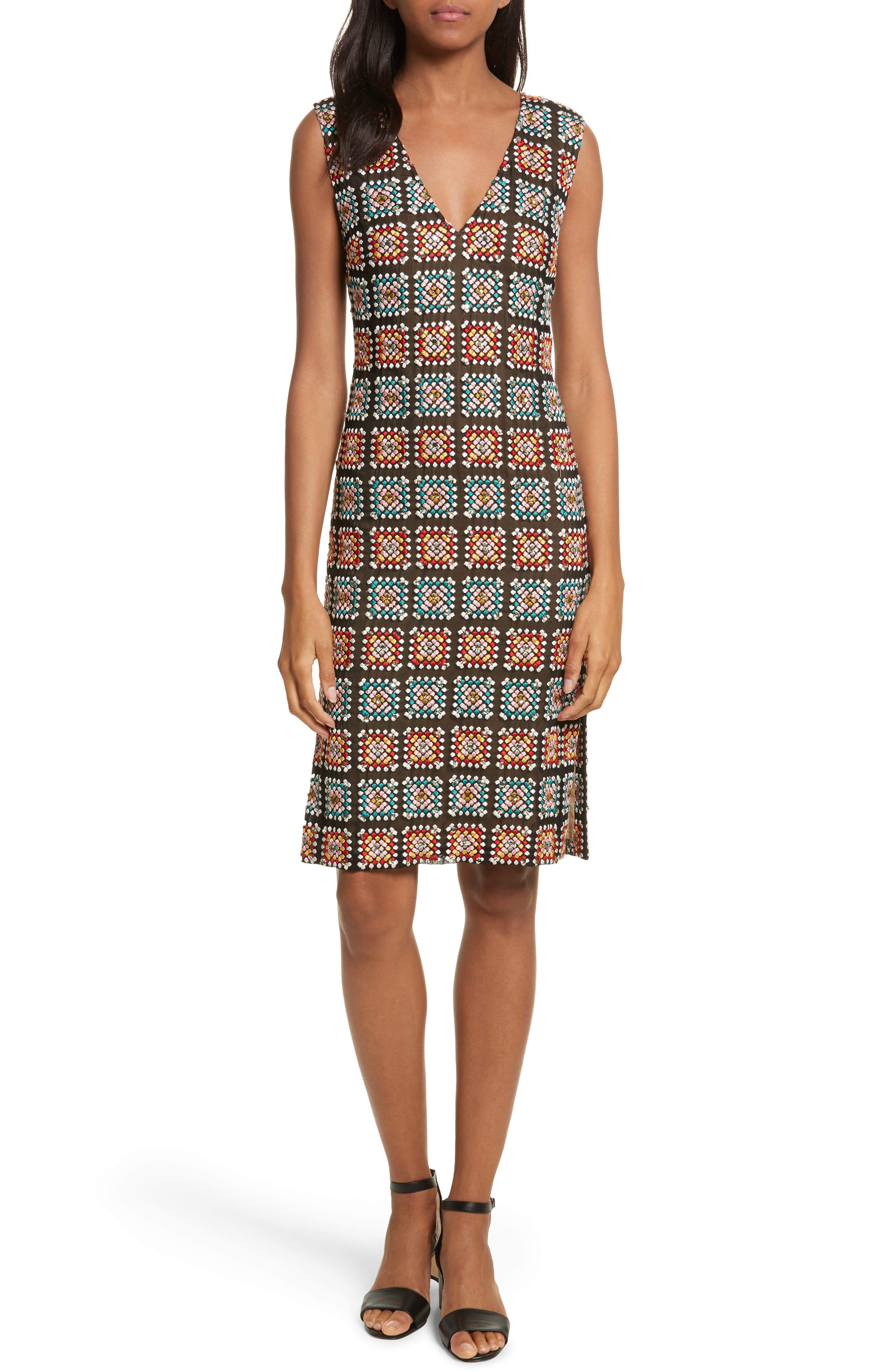 Embellished Georgette Sheath Dress,                         Main,                         color,