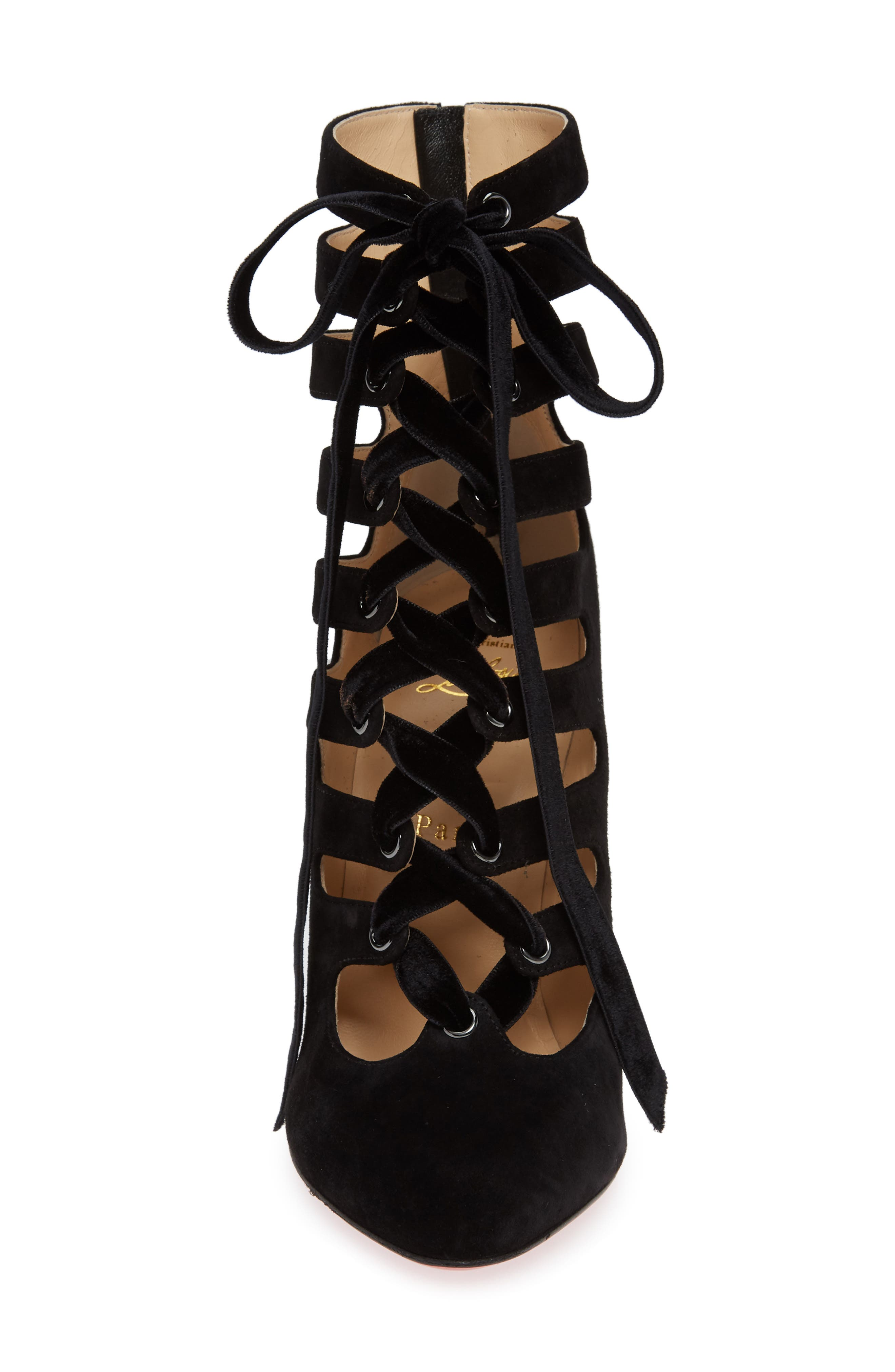 Spinetita Cage Lace-Up Bootie,                             Alternate thumbnail 4, color,                             001