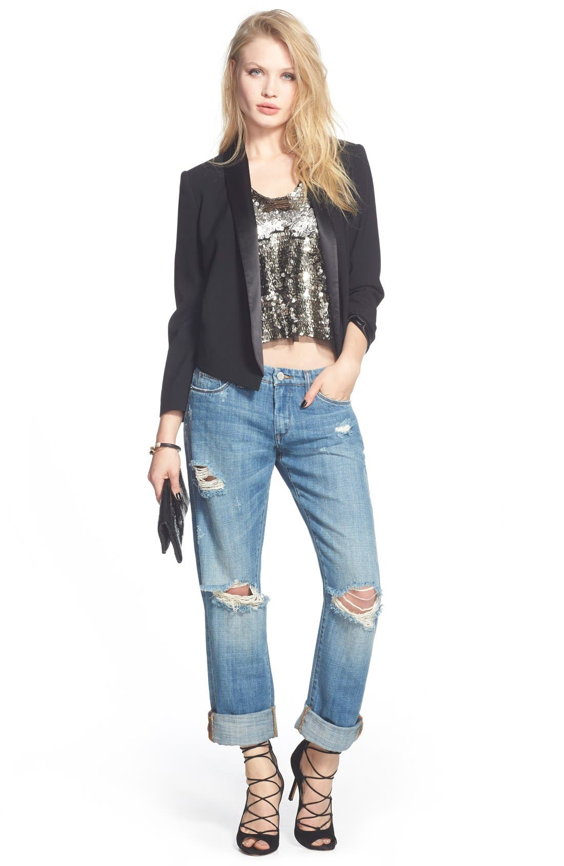 'Meant to Be' High Rise Distressed Boyfriend Jeans,                             Alternate thumbnail 2, color,                             400