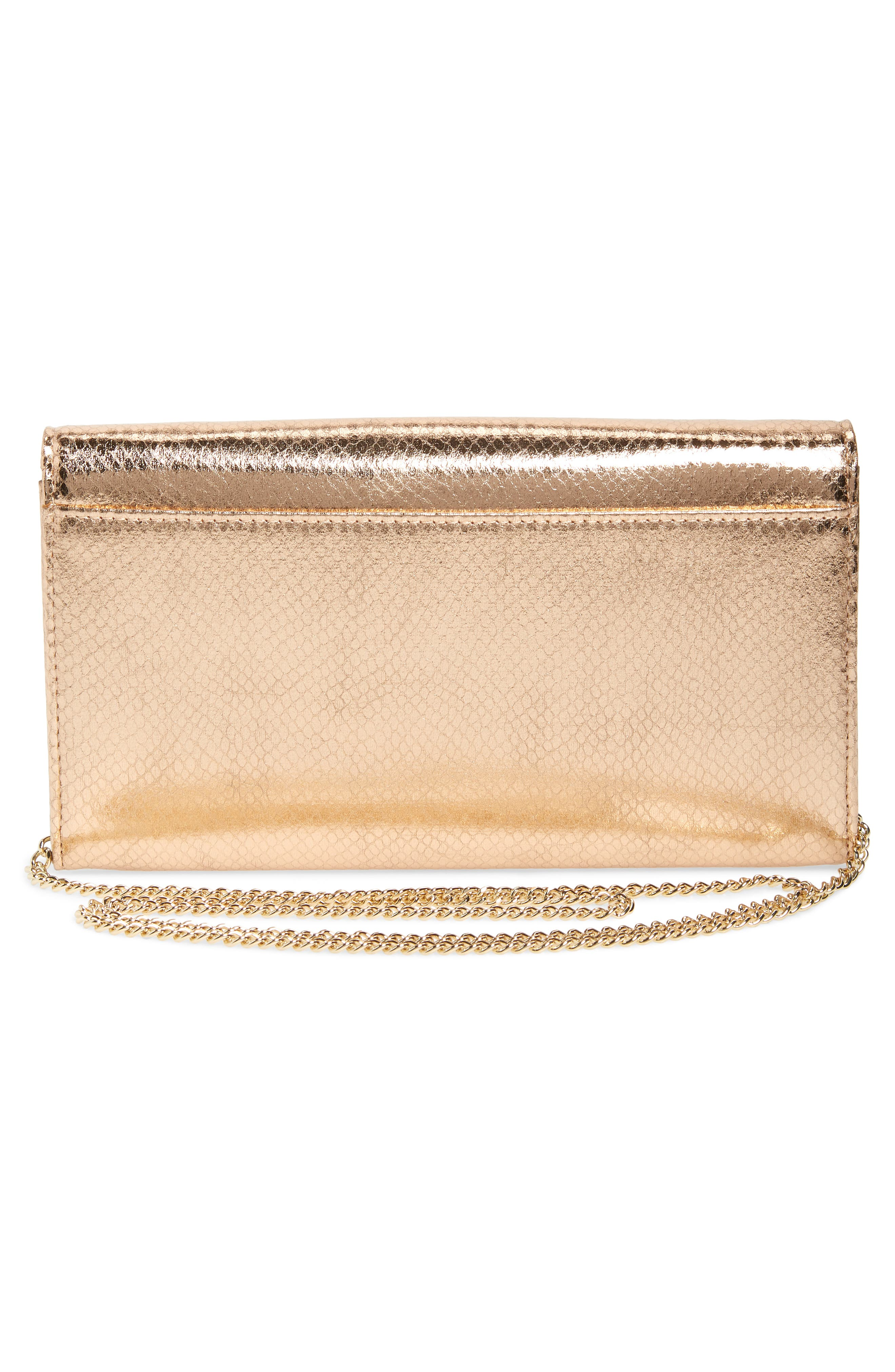 Metallic Snake-Embossed Faux Leather Bar Clutch,                             Alternate thumbnail 3, color,                             ROSE GOLD