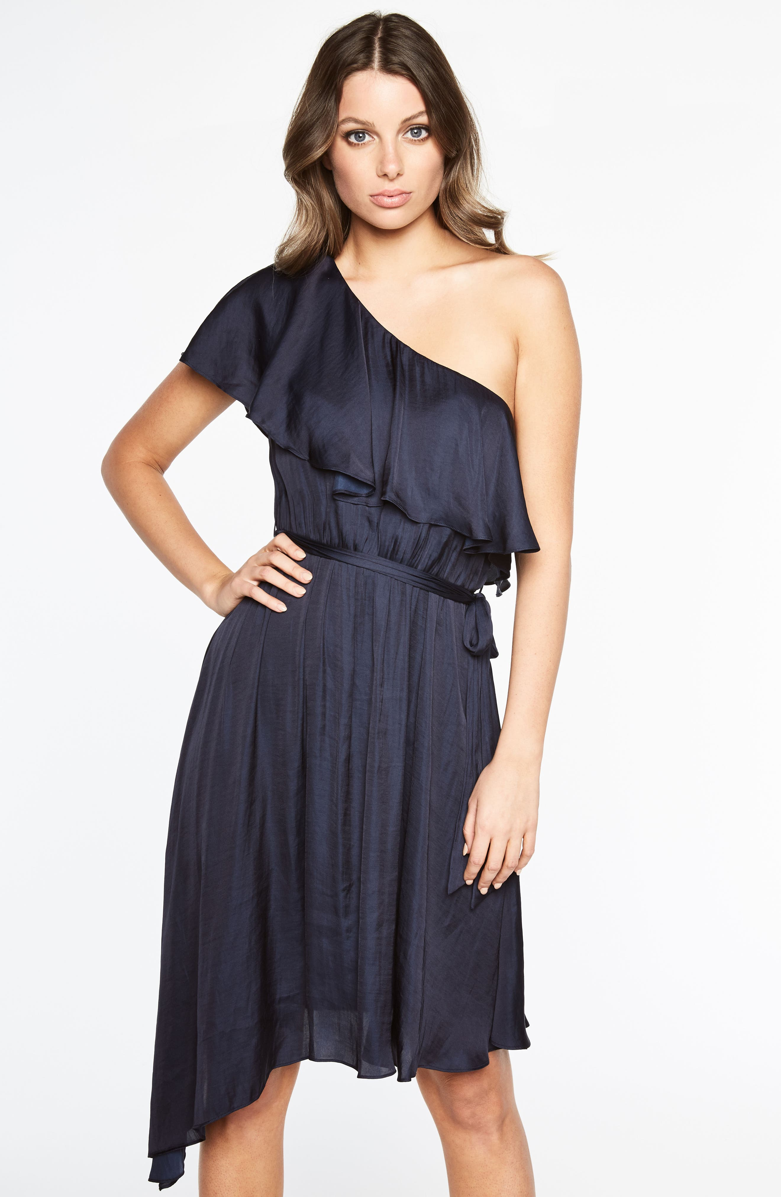 Waterfall One-Shoulder Dress,                             Alternate thumbnail 5, color,                             410