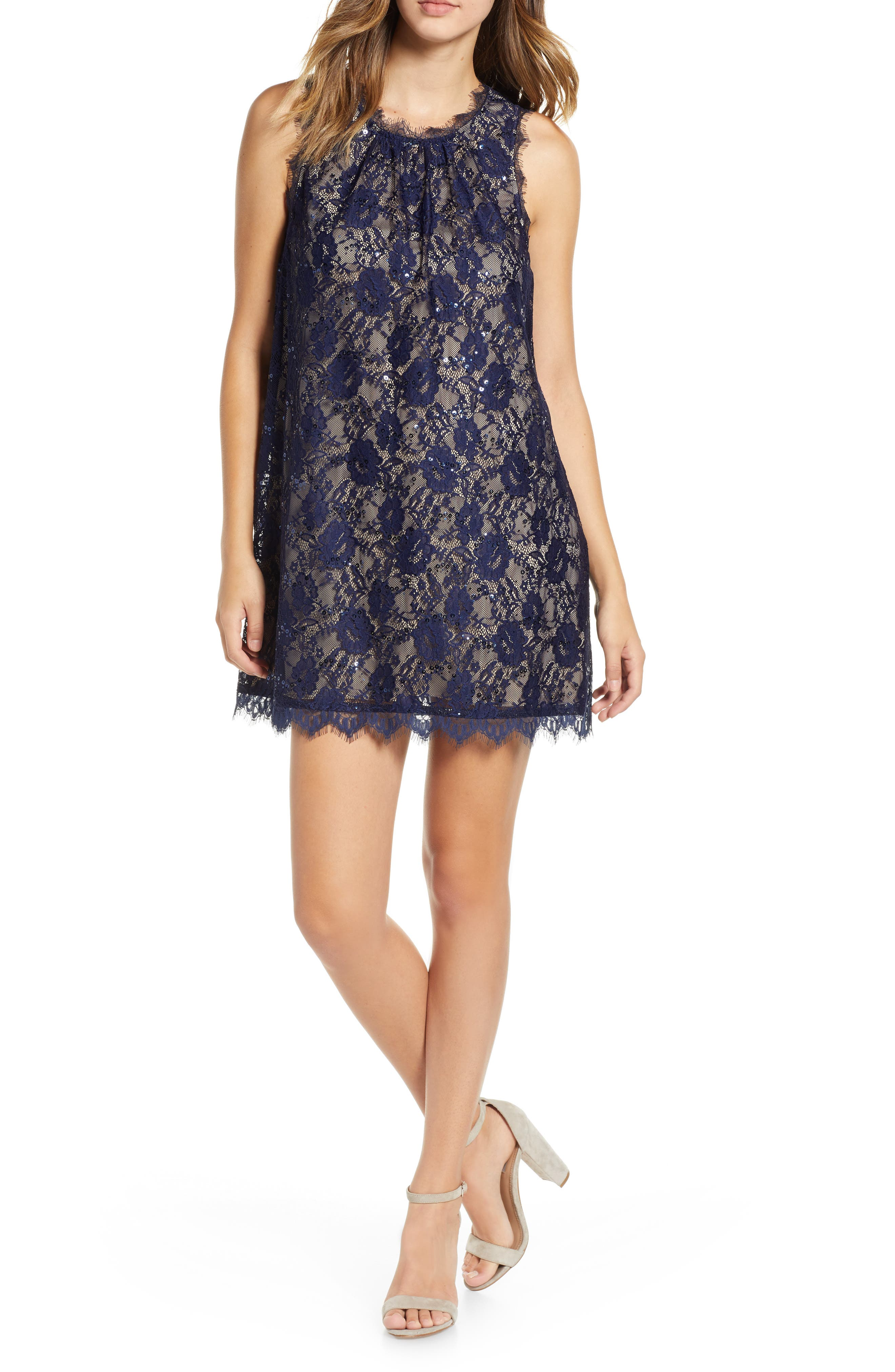 Sequin Lace Shift Dress,                             Main thumbnail 1, color,                             NAVY/ TAUPE