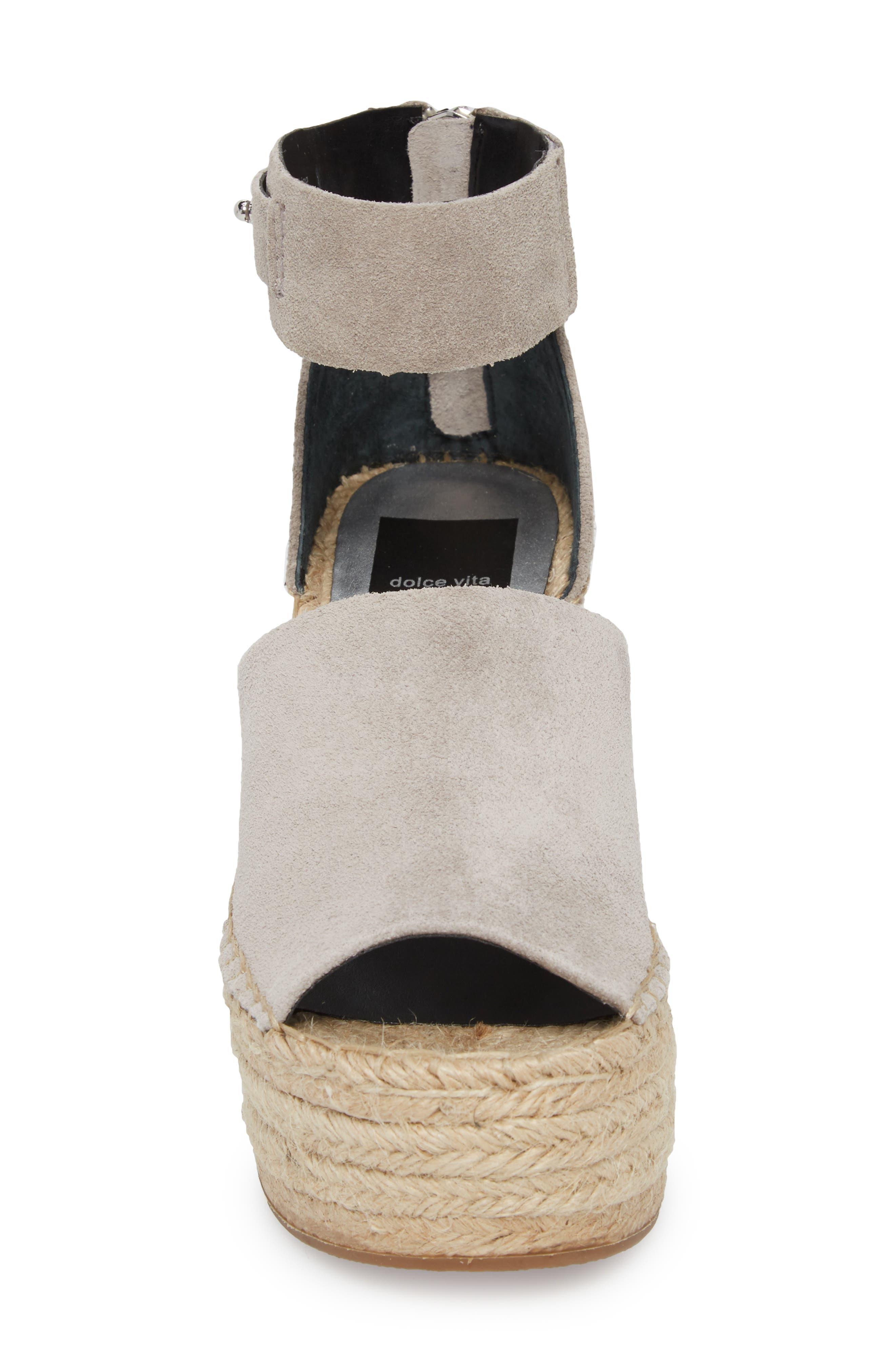 Straw Wedge Espadrille Sandal,                             Alternate thumbnail 4, color,                             033