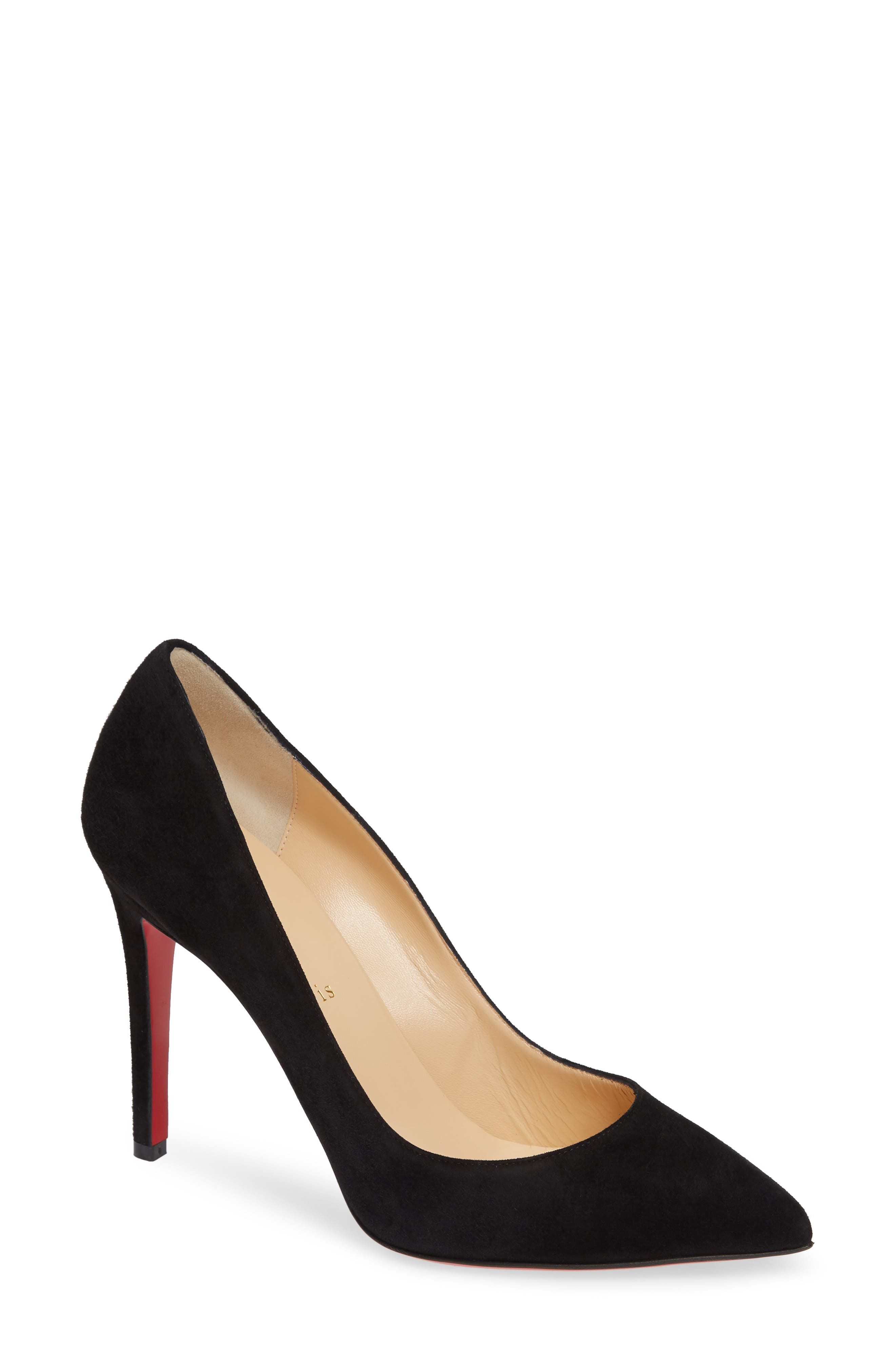 CHRISTIAN LOUBOUTIN,                             Pigalle Pointy Toe Pump,                             Main thumbnail 1, color,                             BLACK SUEDE