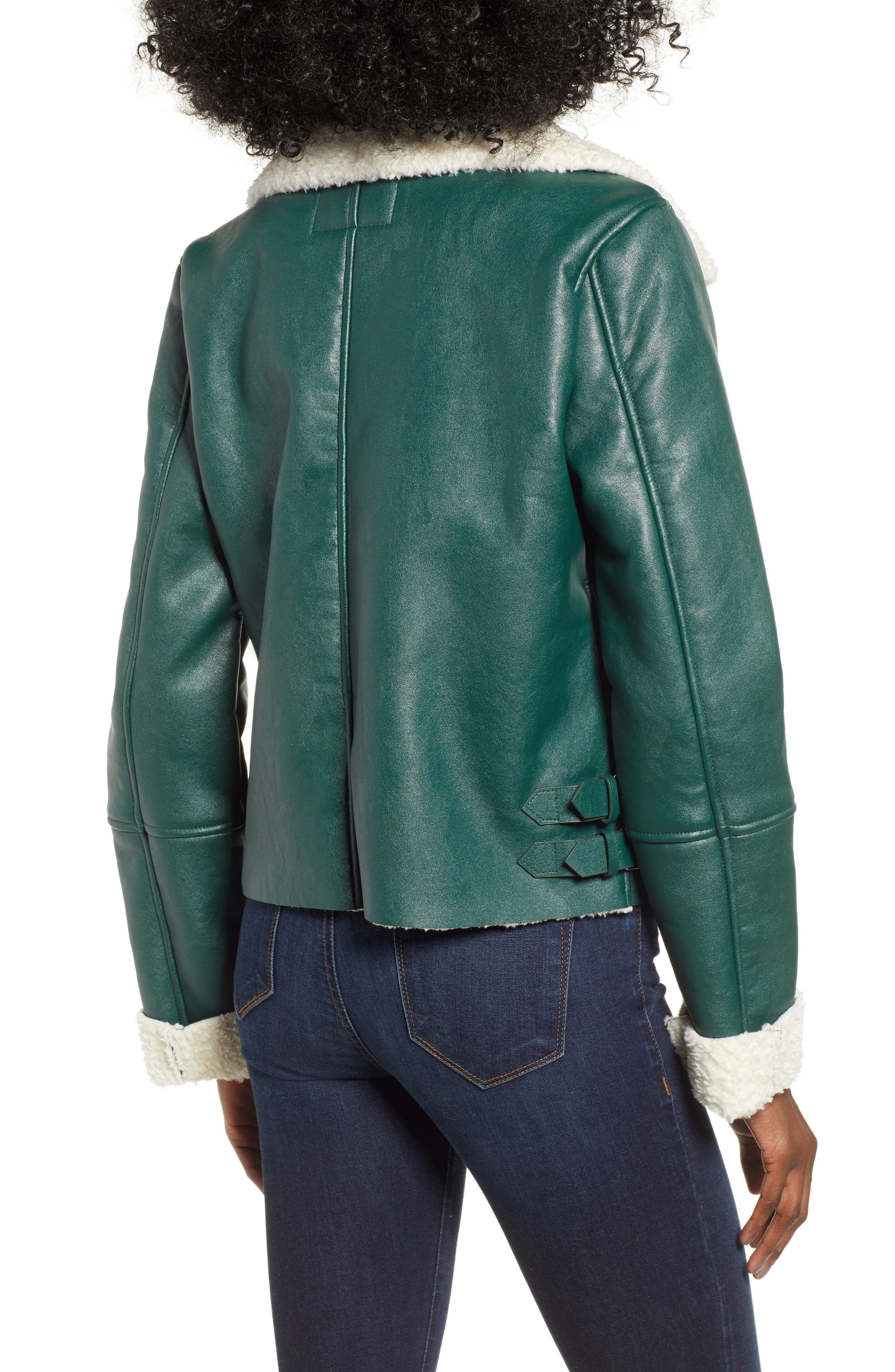 Moto Jacket with Faux Shearling Lining,                             Alternate thumbnail 2, color,                             OUT OF THE WOODS