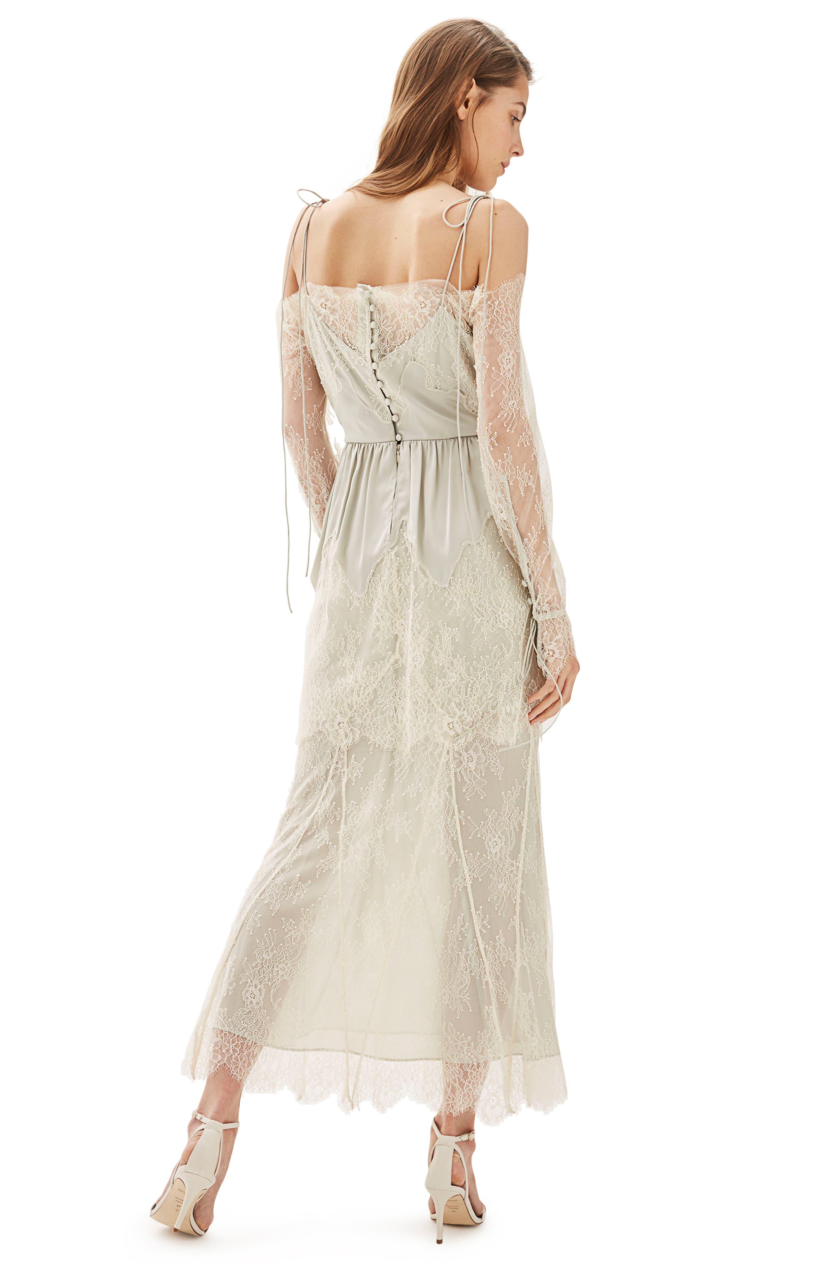 Bride Bardot Lace Off the Shoulder Gown,                             Alternate thumbnail 2, color,                             900