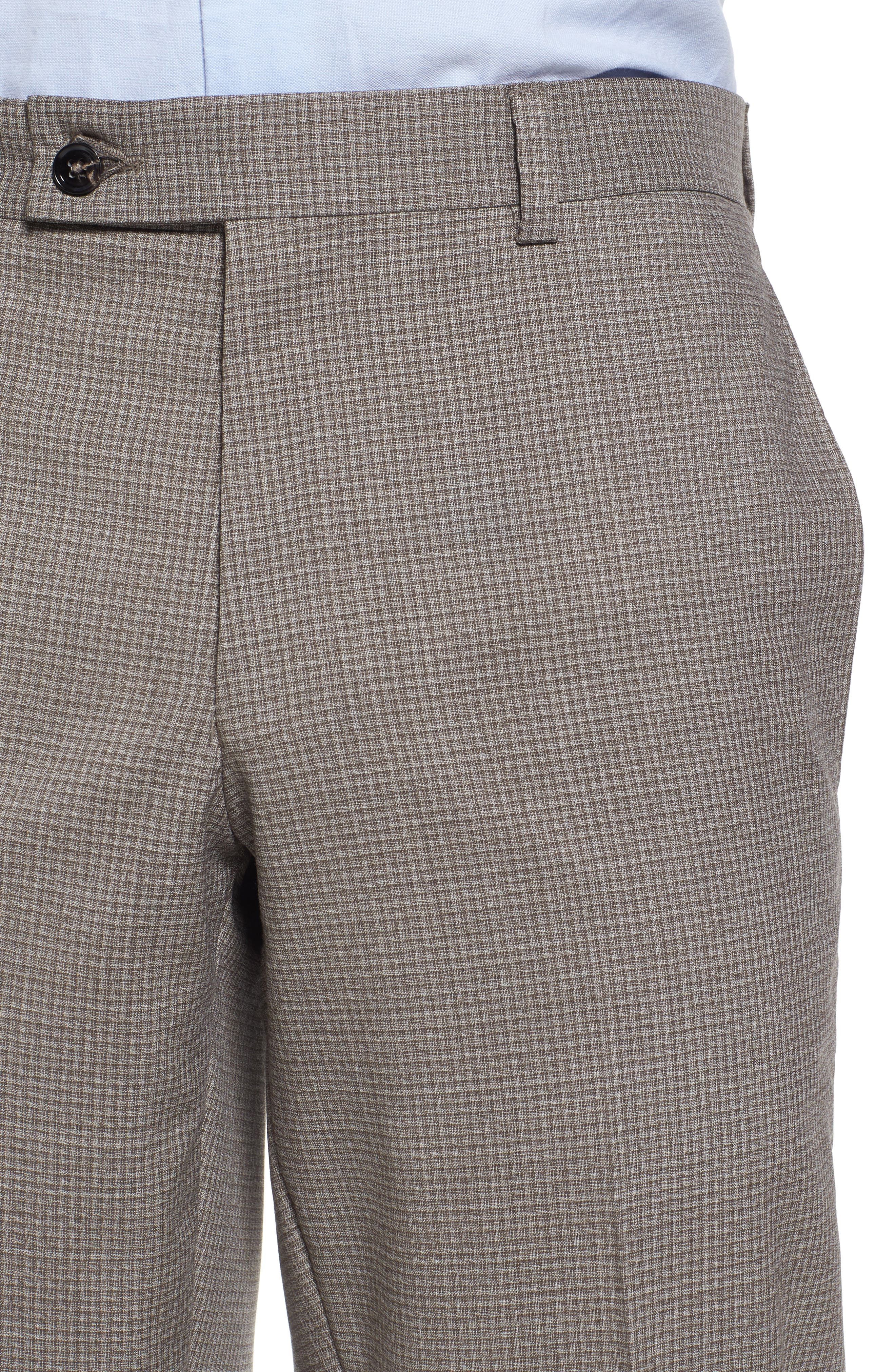 Flat Front Check Wool Trousers,                             Alternate thumbnail 5, color,                             250