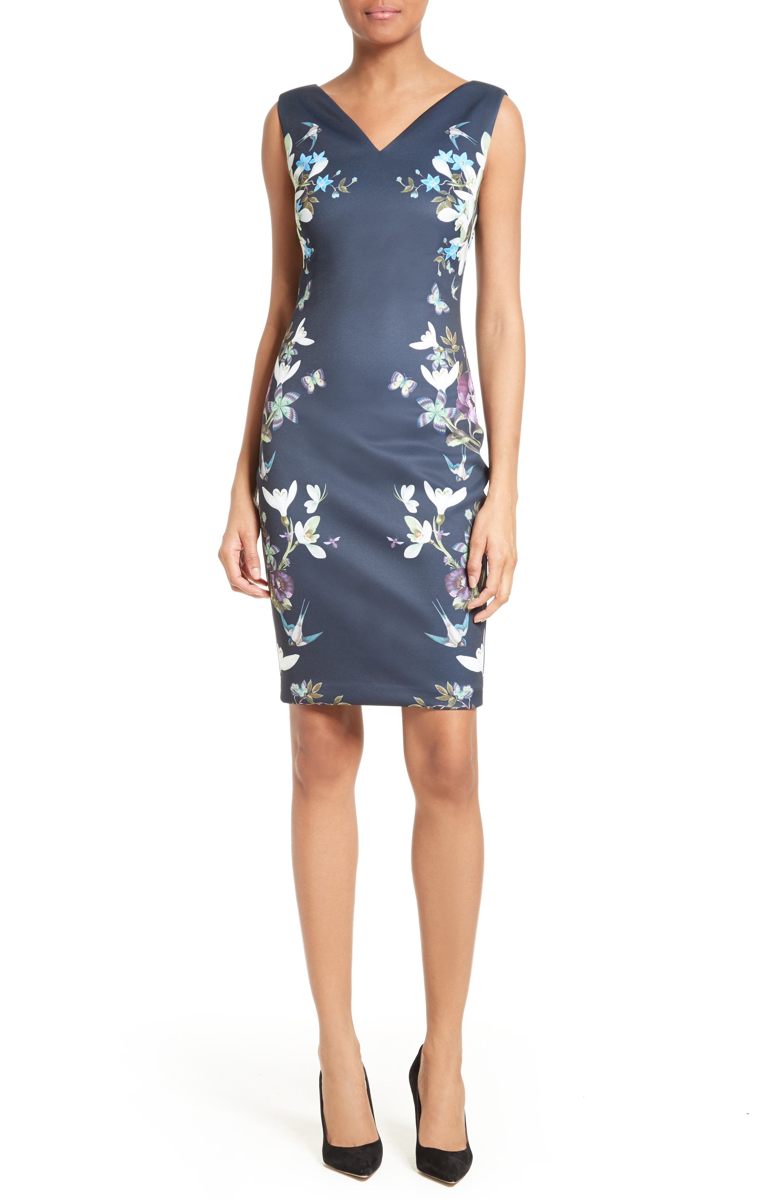 Katiey Placed Print Sheath Dress,                         Main,                         color, 402