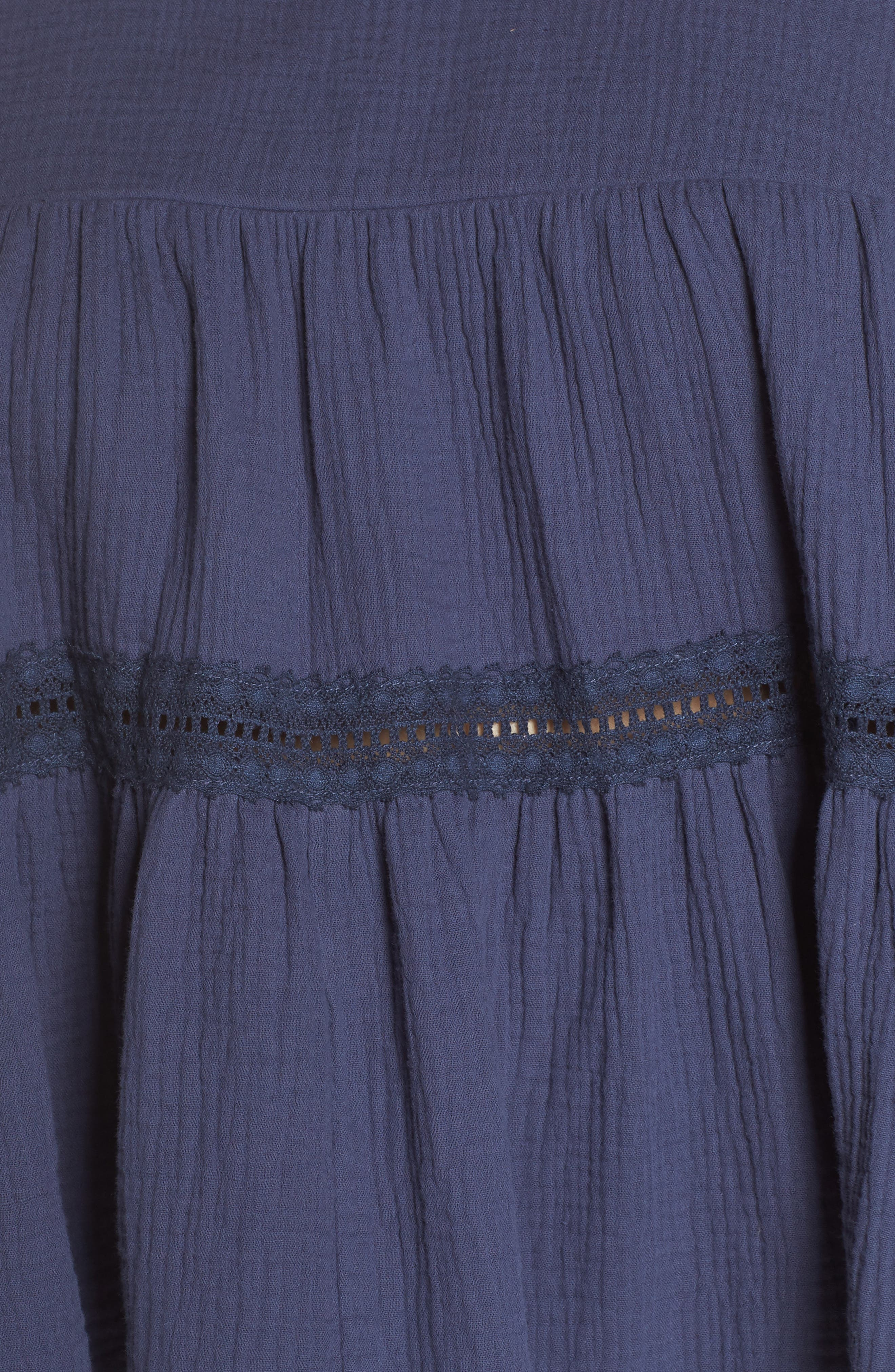 CASLON<SUP>®</SUP>,                             Lace Trim Gathered Top,                             Alternate thumbnail 5, color,                             410