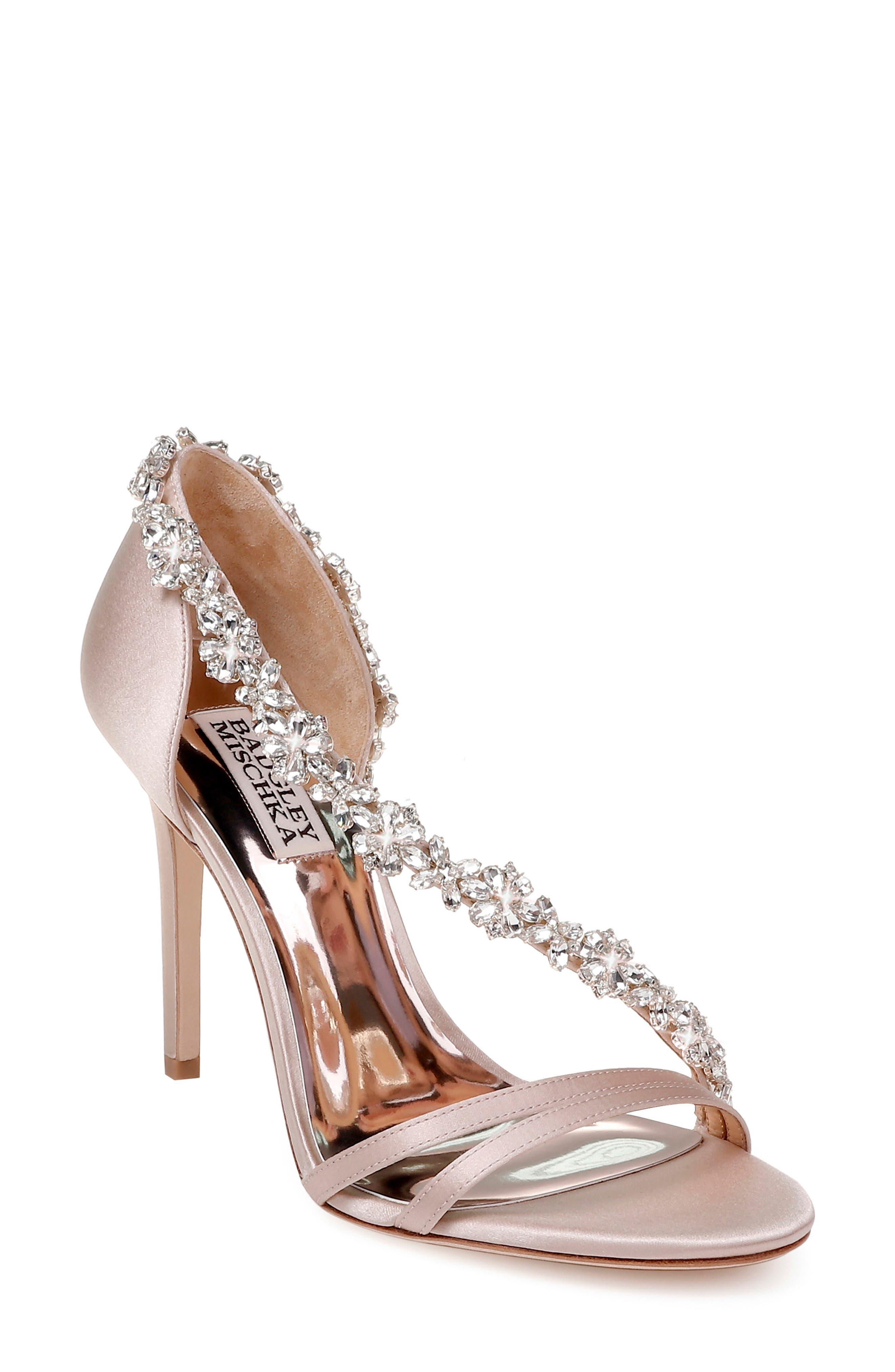 Badley Mischka Voletta Crystal Embellished Sandal- Beige