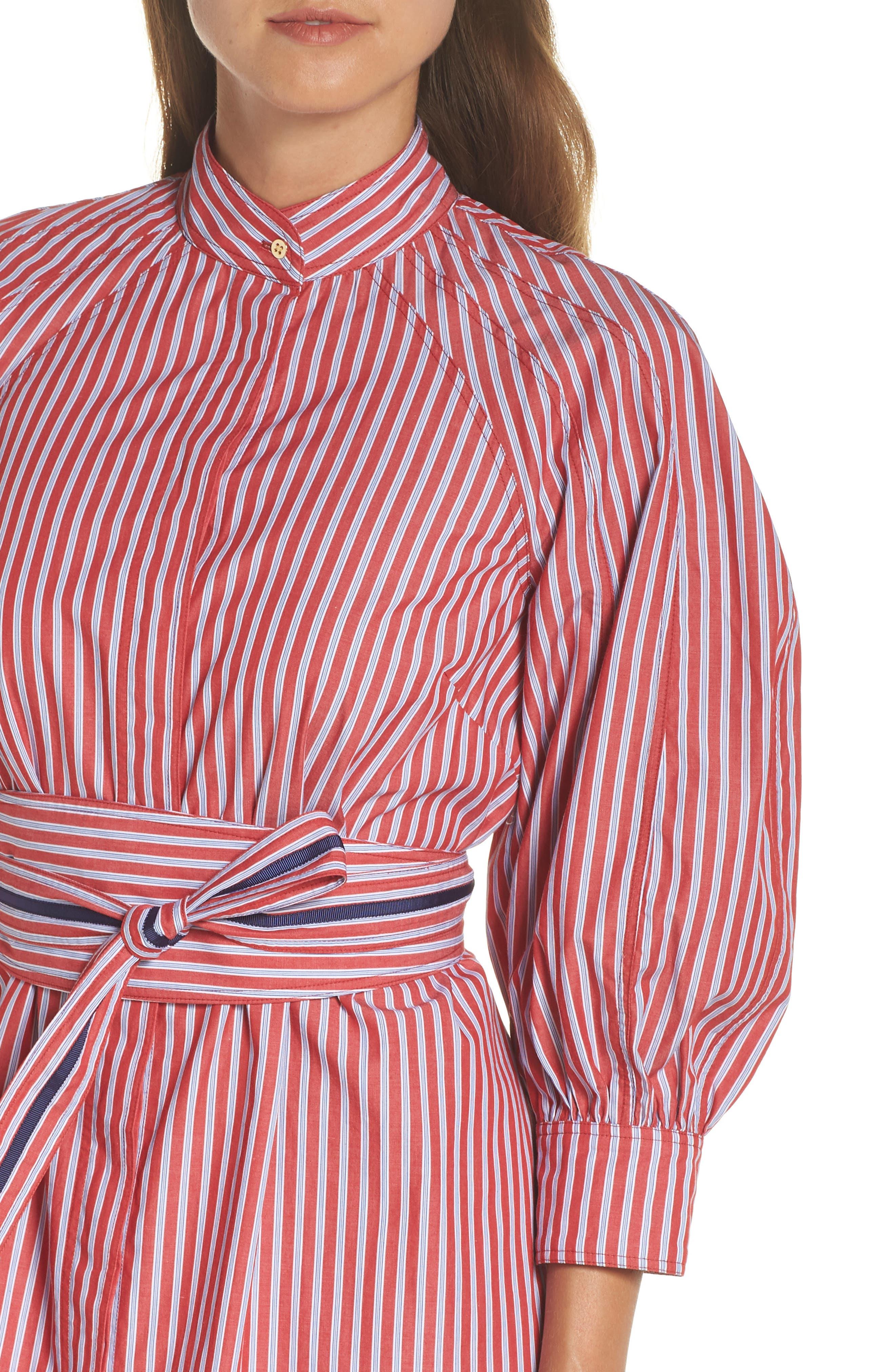 Stripe Tie Waist Shirtdress,                             Alternate thumbnail 4, color,                             600