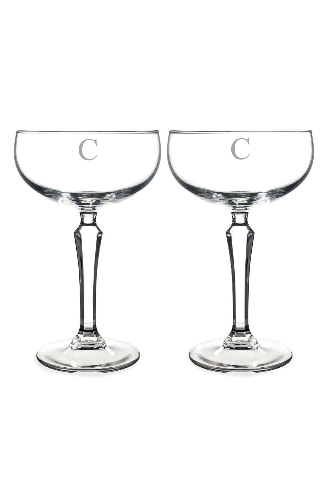 Monogram Coupe Cocktail/Champagne Glasses,                             Main thumbnail 5, color,
