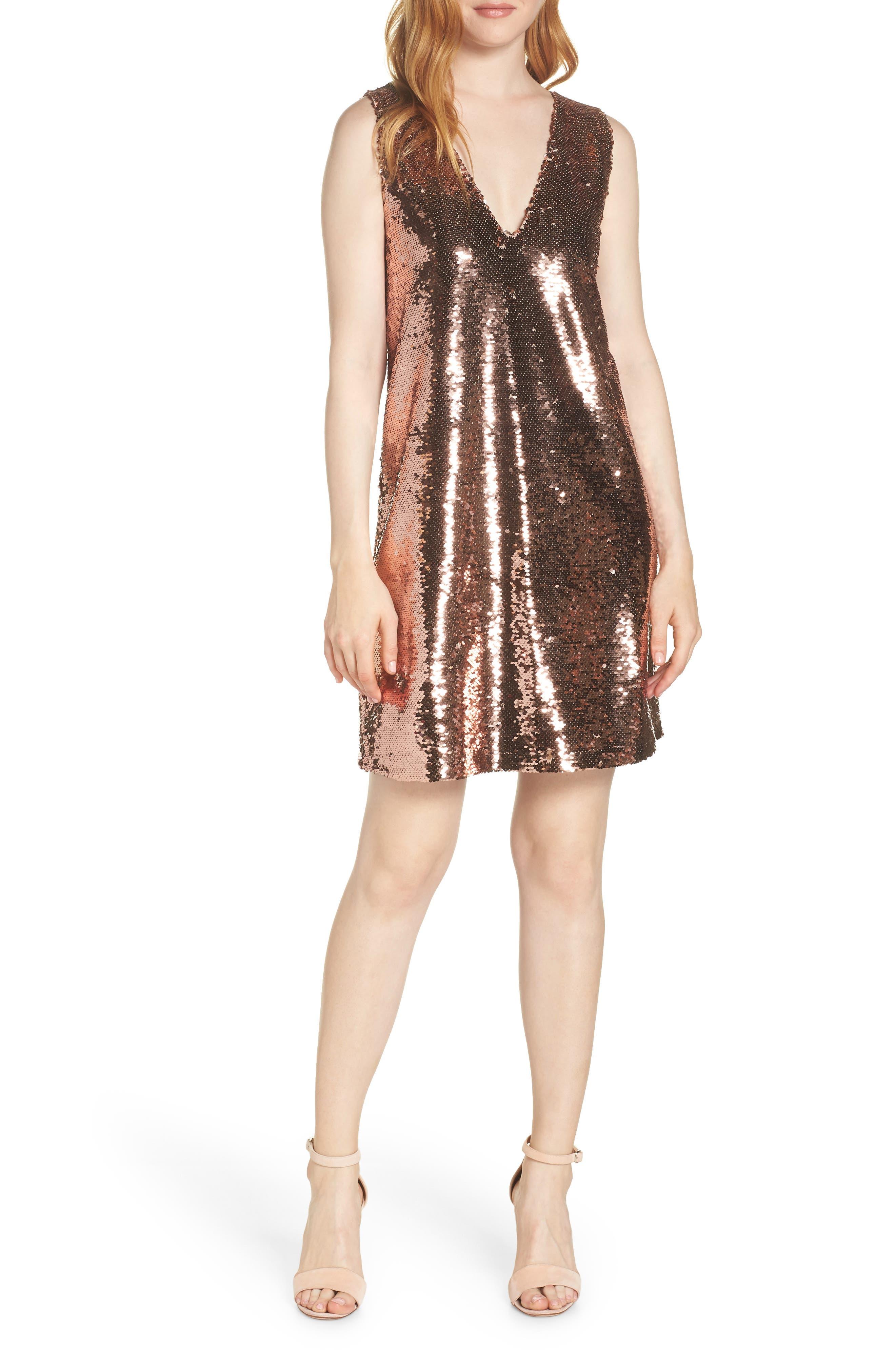 Bb Dakota V-Neck Sequin Shift Dress