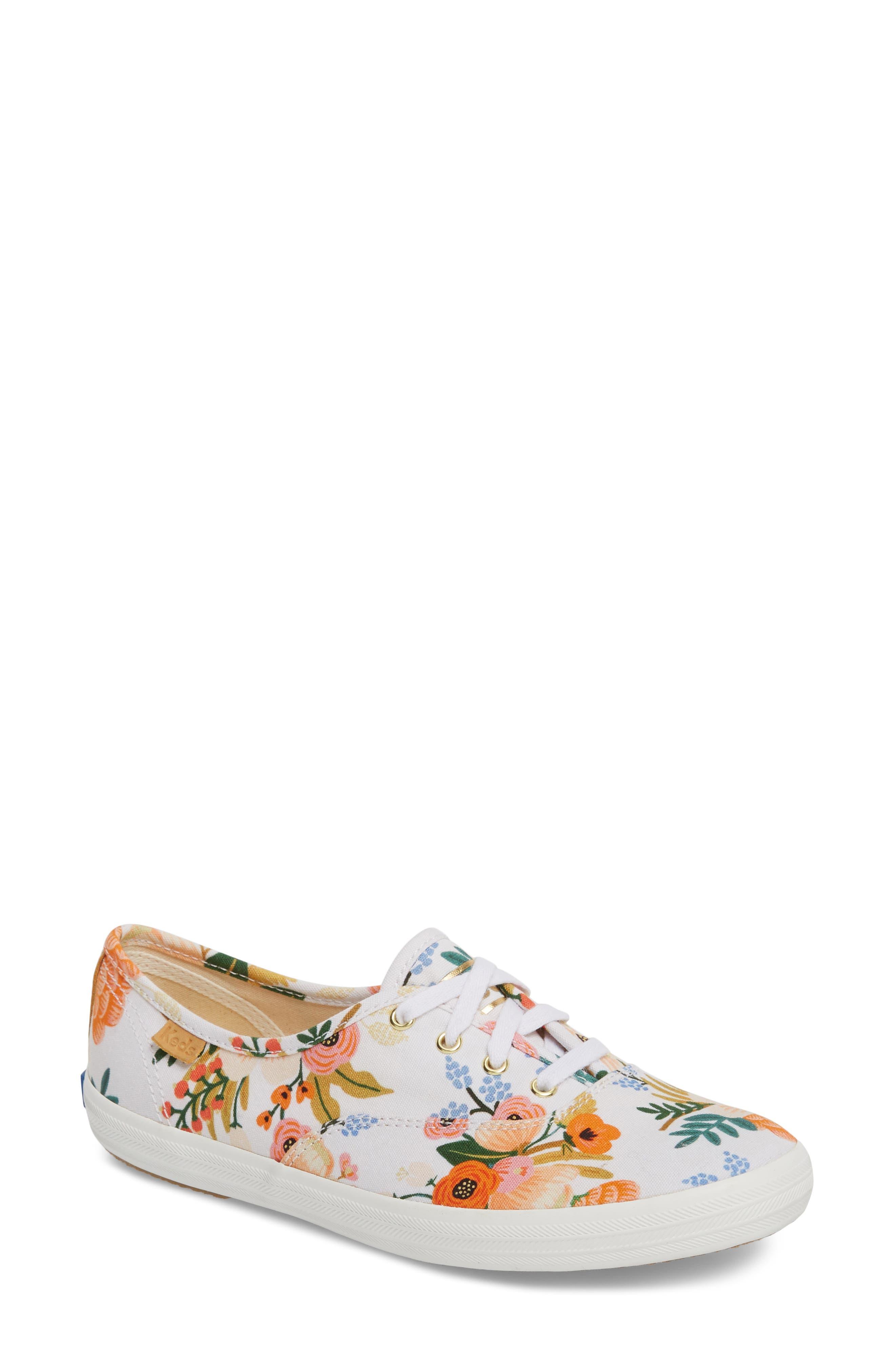 x Rifle Paper Co. Champion Floral Print Sneaker,                         Main,                         color, WHITE