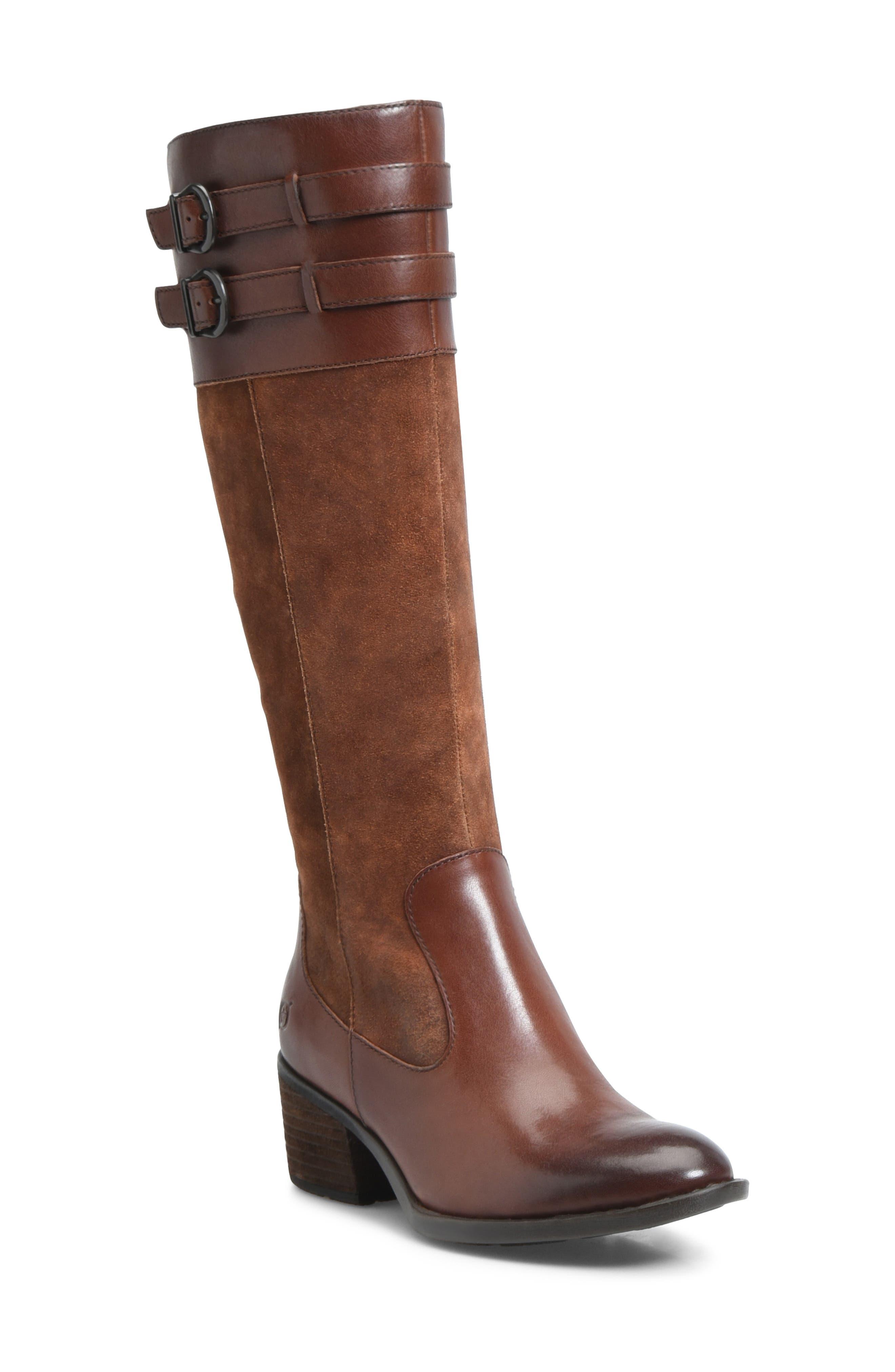 B?rn Tay Block Heel Knee High Boot, Brown