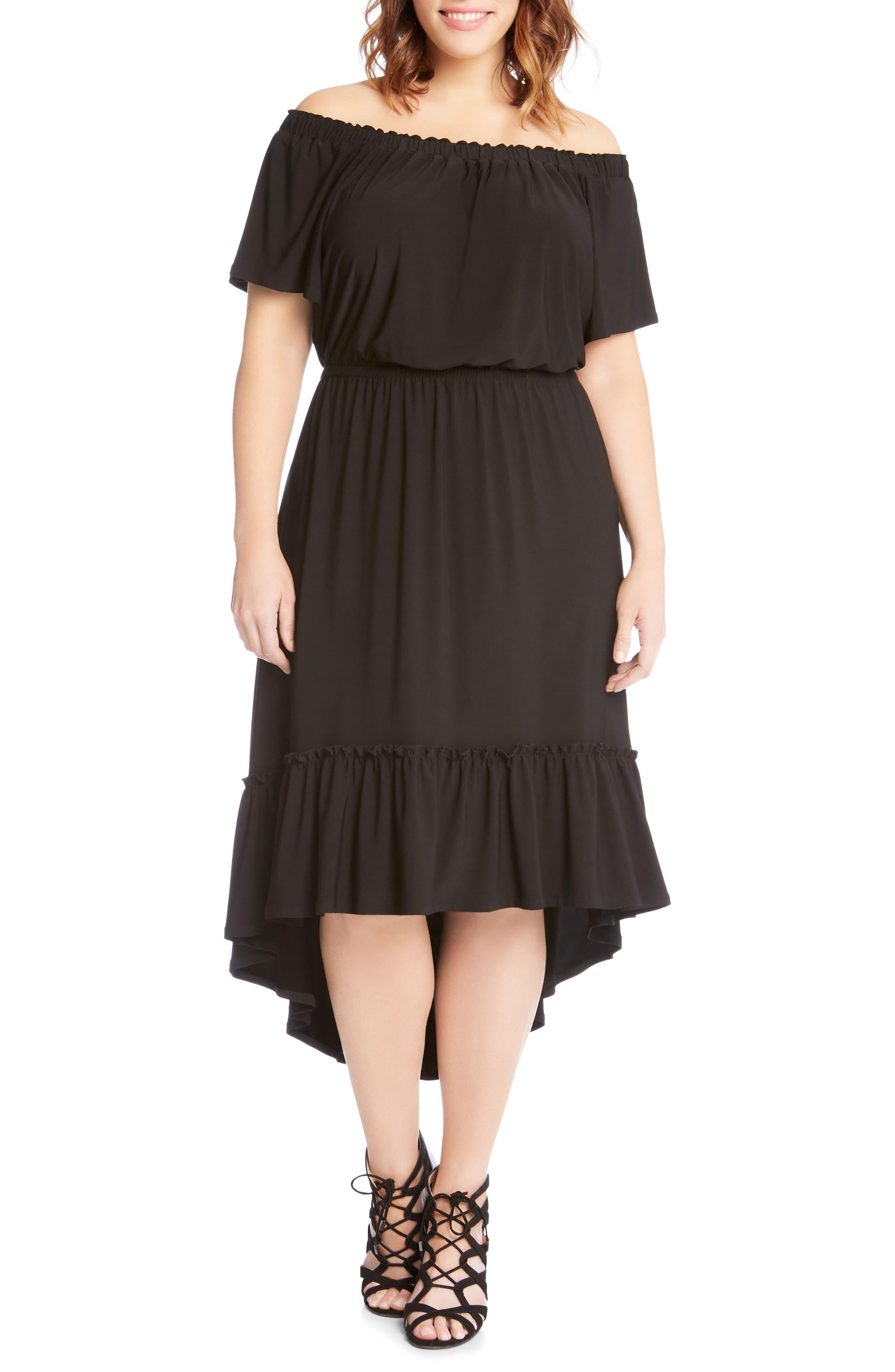 Ruffle Hem Off the Shoulder Dress,                         Main,                         color, 001