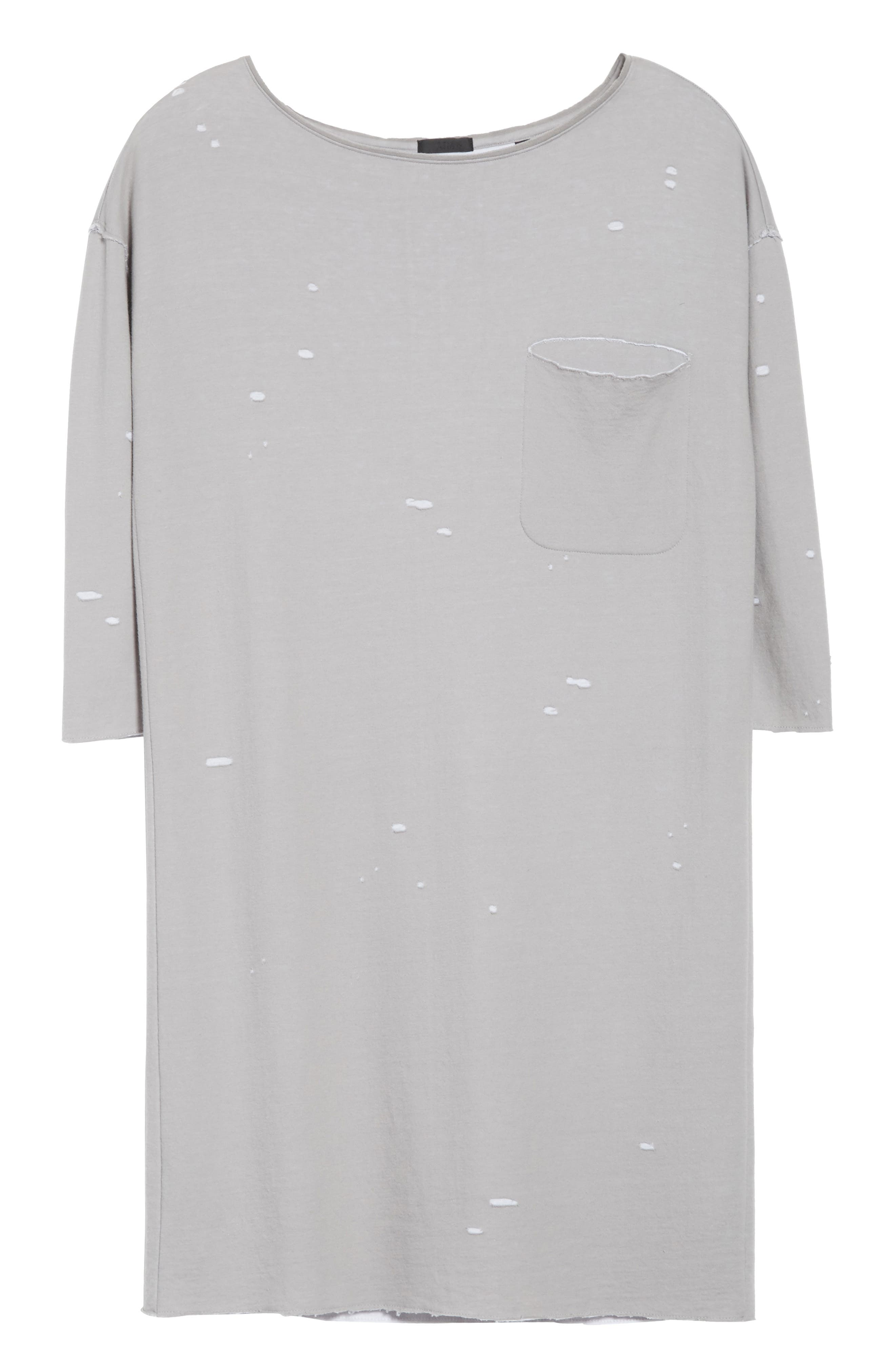 Destroyed Double-Faced Jersey Dress,                             Alternate thumbnail 6, color,