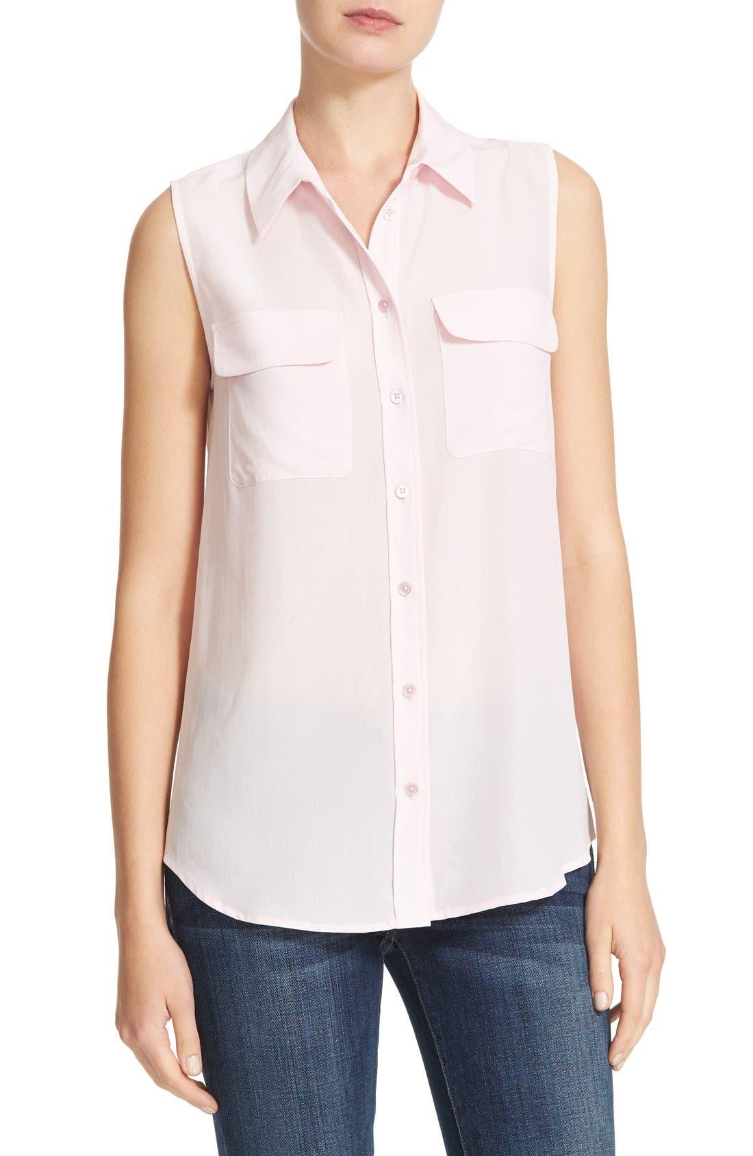'Slim Signature' Sleeveless Silk Shirt,                             Main thumbnail 44, color,
