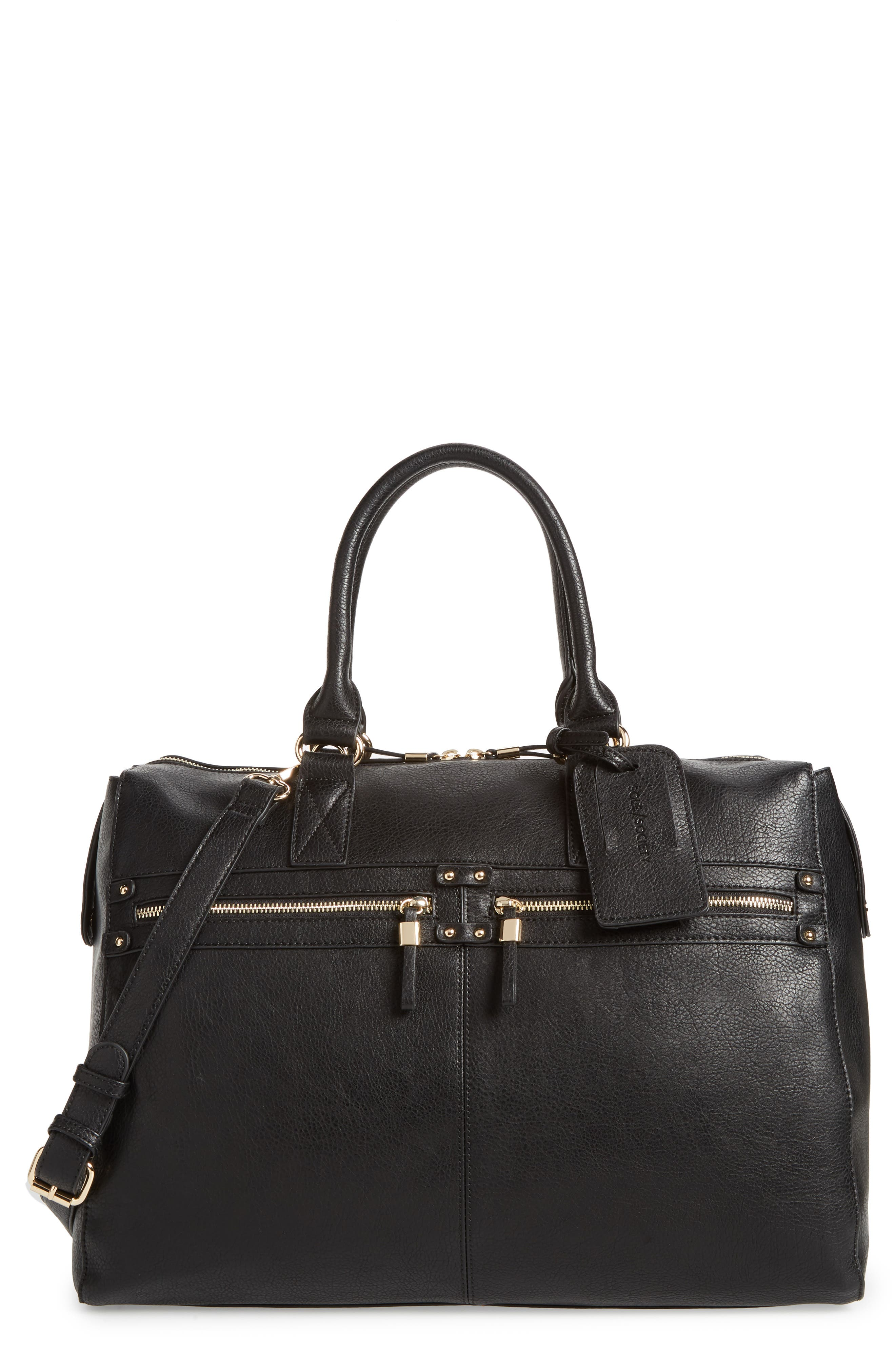Zypa Faux Leather Weekend Bag,                             Main thumbnail 1, color,                             BLACK