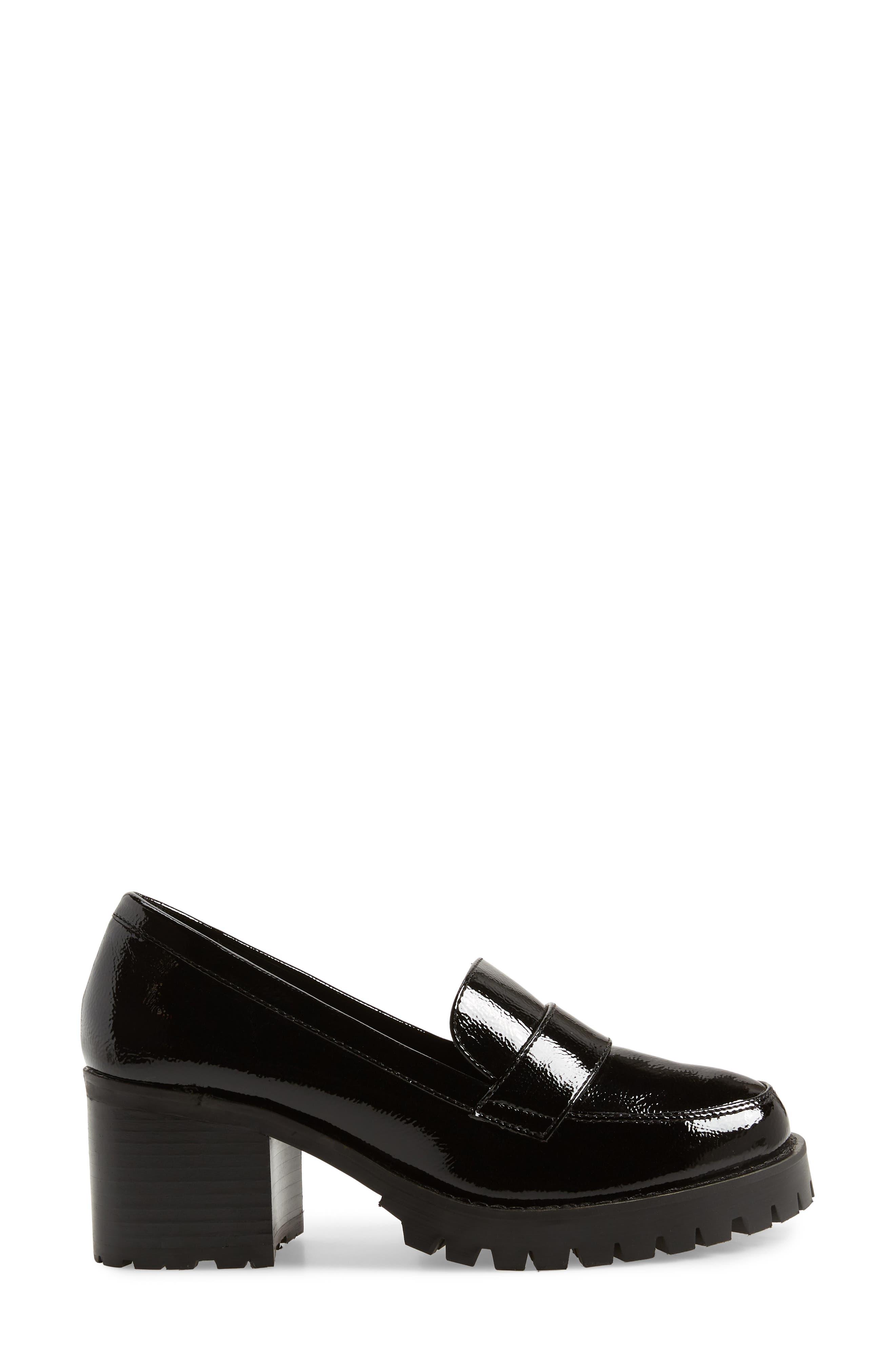 Leighton Platform Loafer,                             Alternate thumbnail 3, color,                             BLACK