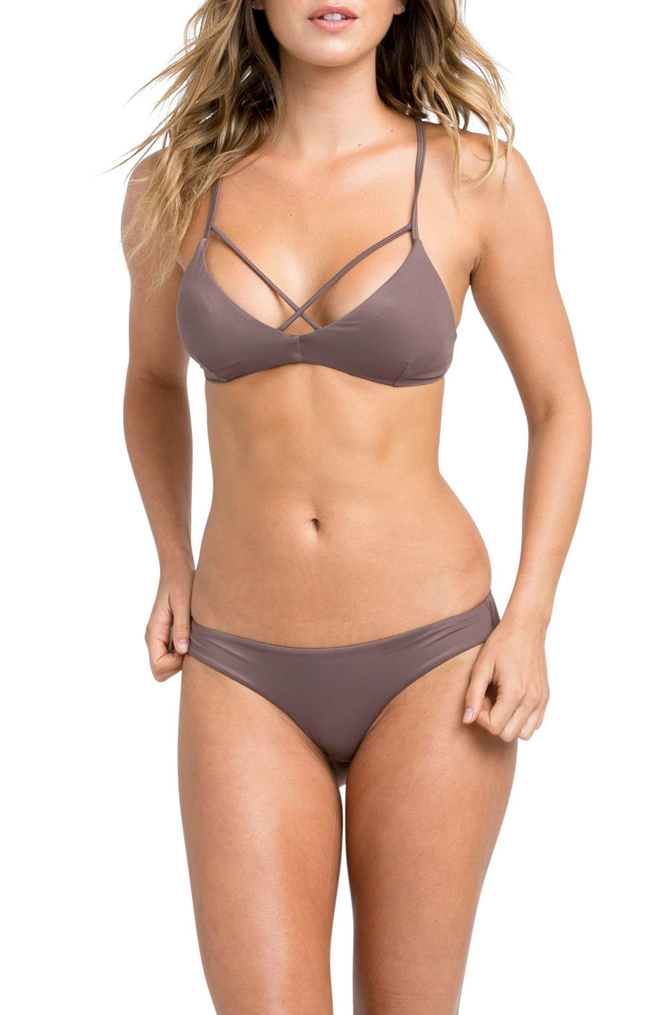 Solid Bralette Criscross Bikini Top,                             Alternate thumbnail 4, color,                             500