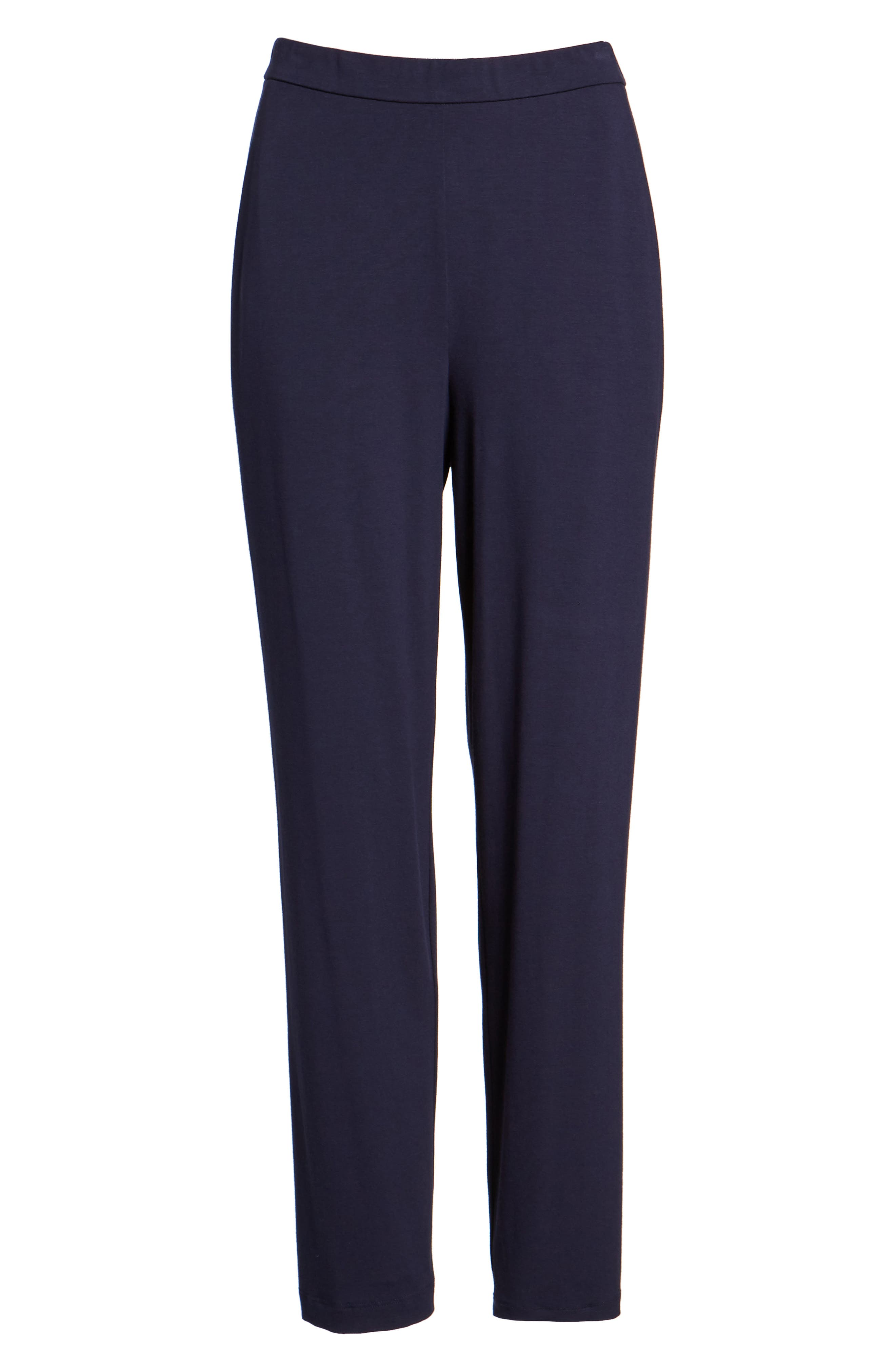 Crop Stretch Knit Pants,                             Alternate thumbnail 7, color,                             MIDNIGHT