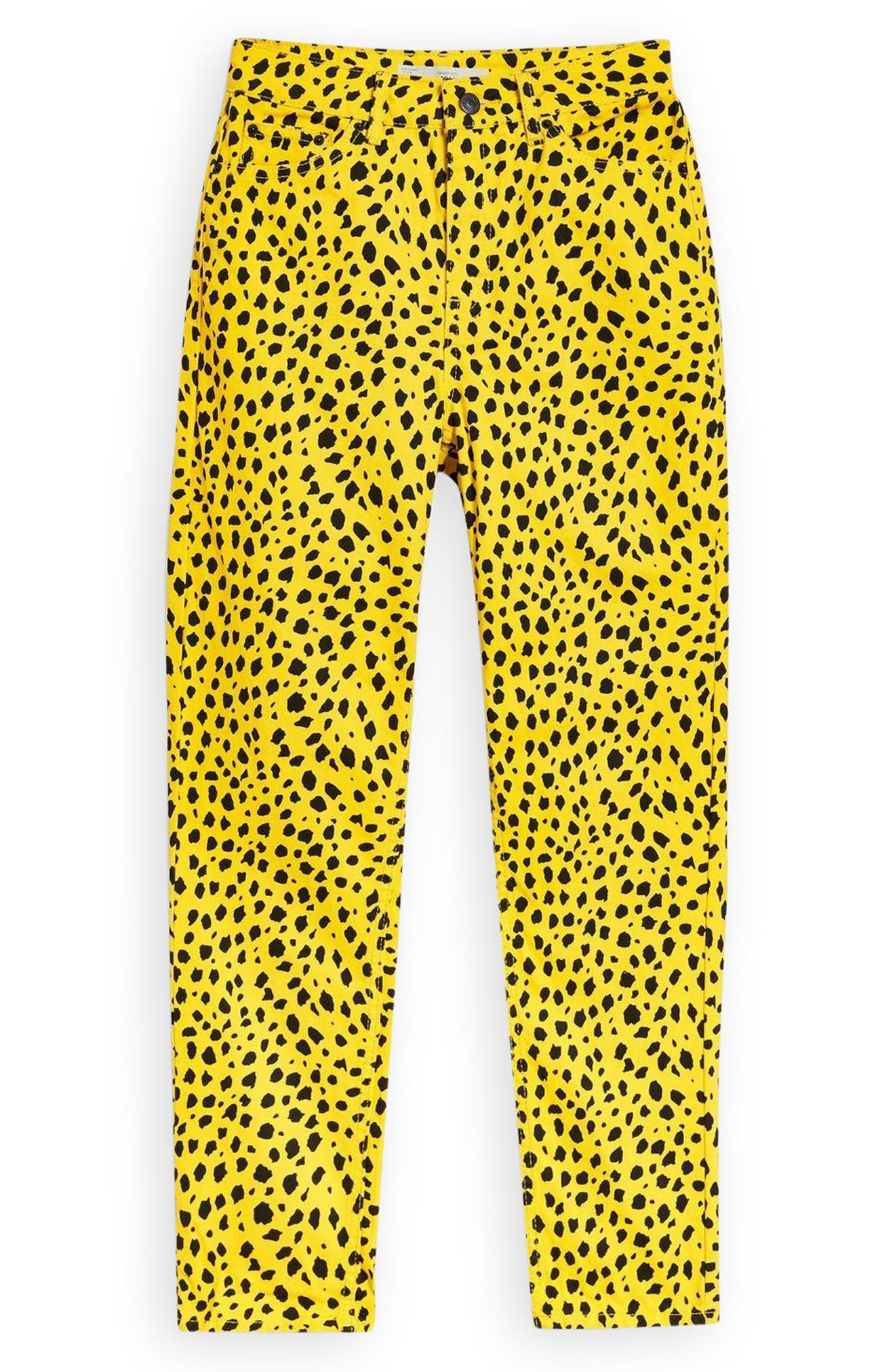 Leopard Mom Jeans,                             Alternate thumbnail 3, color,                             YELLOW