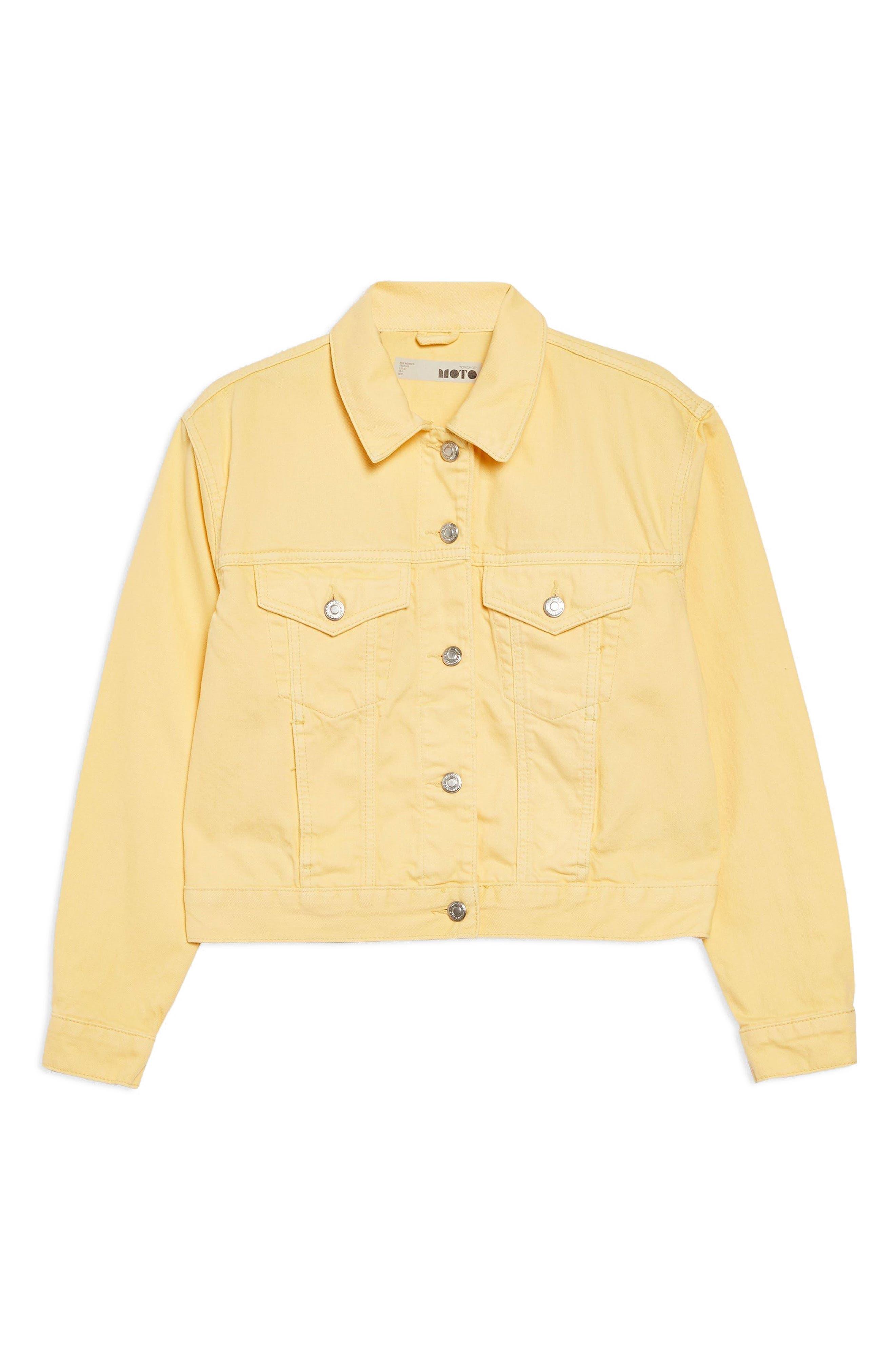 Yellow Denim Jacket,                             Alternate thumbnail 4, color,                             LIGHT YELLOW