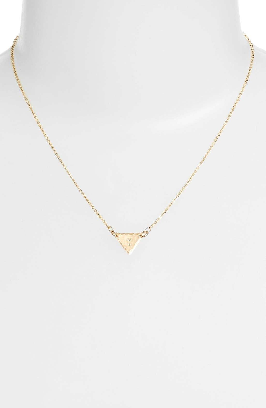 14k-Gold Fill Initial Triangle Necklace,                             Alternate thumbnail 46, color,