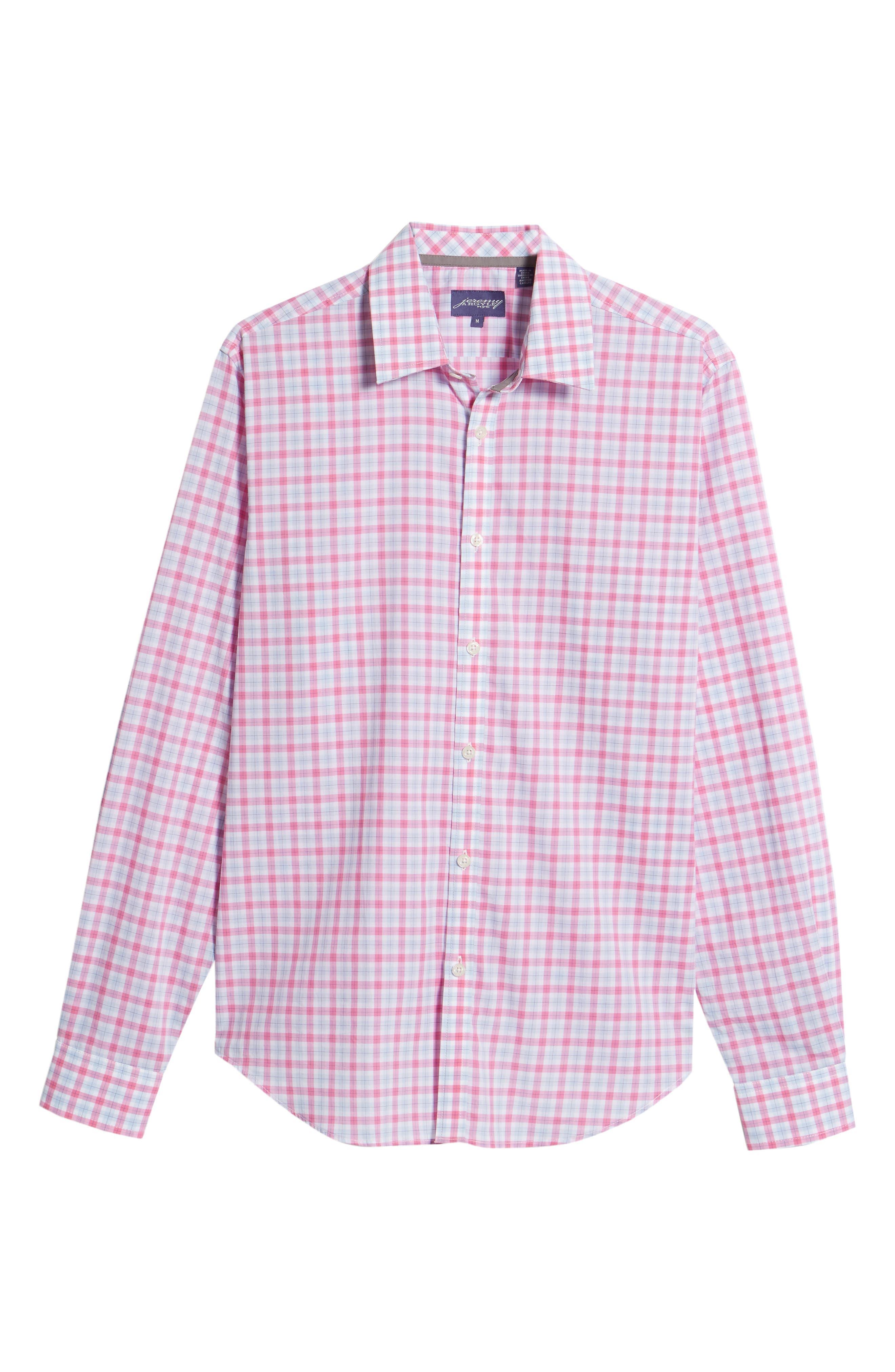 Slim Fit Grid Sport Shirt,                             Alternate thumbnail 6, color,                             MEDIUM PINK