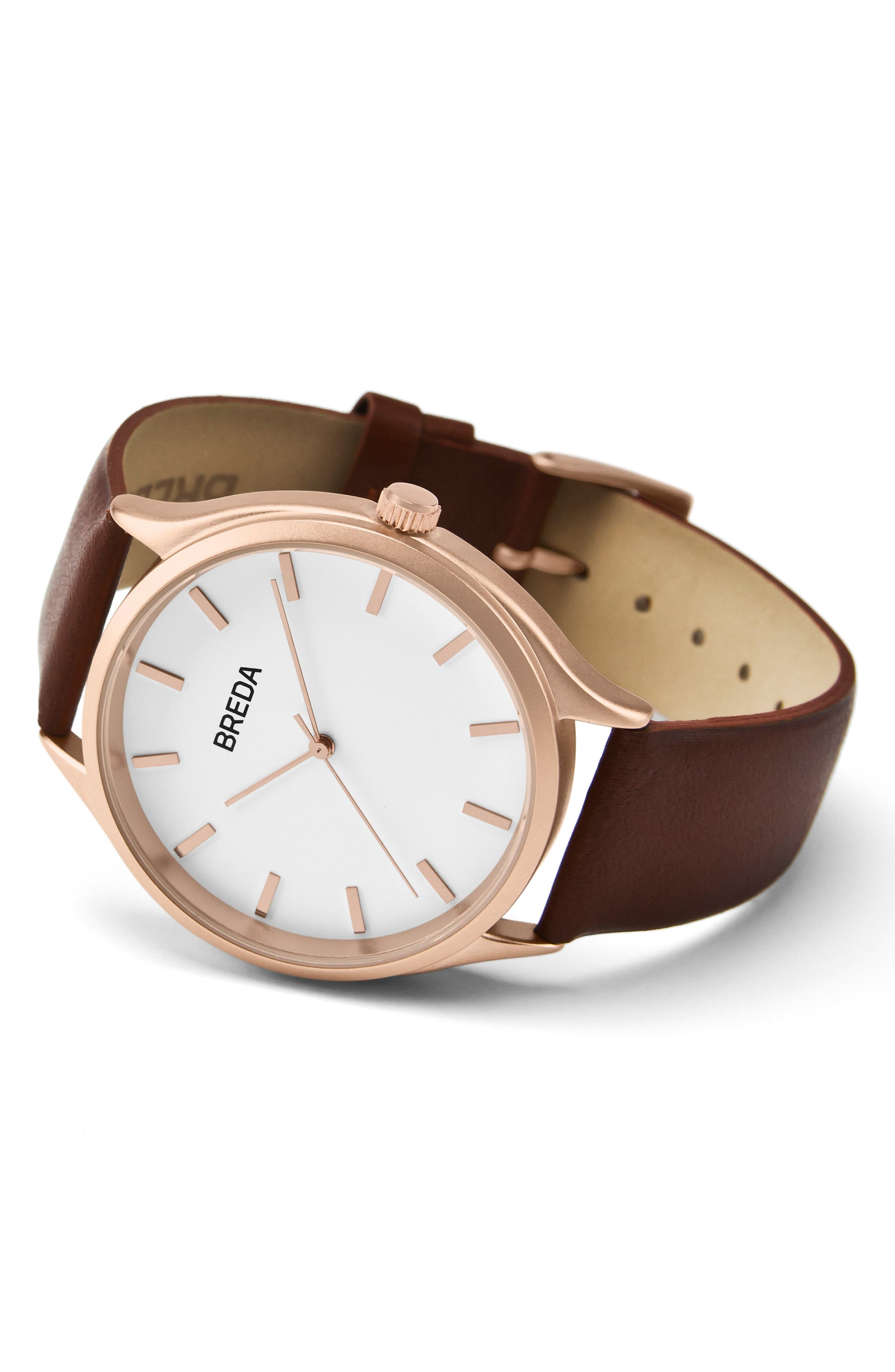 Asper Round Leather Strap Watch, 40mm,                             Alternate thumbnail 2, color,                             BROWN/ WHITE/ ROSE GOLD
