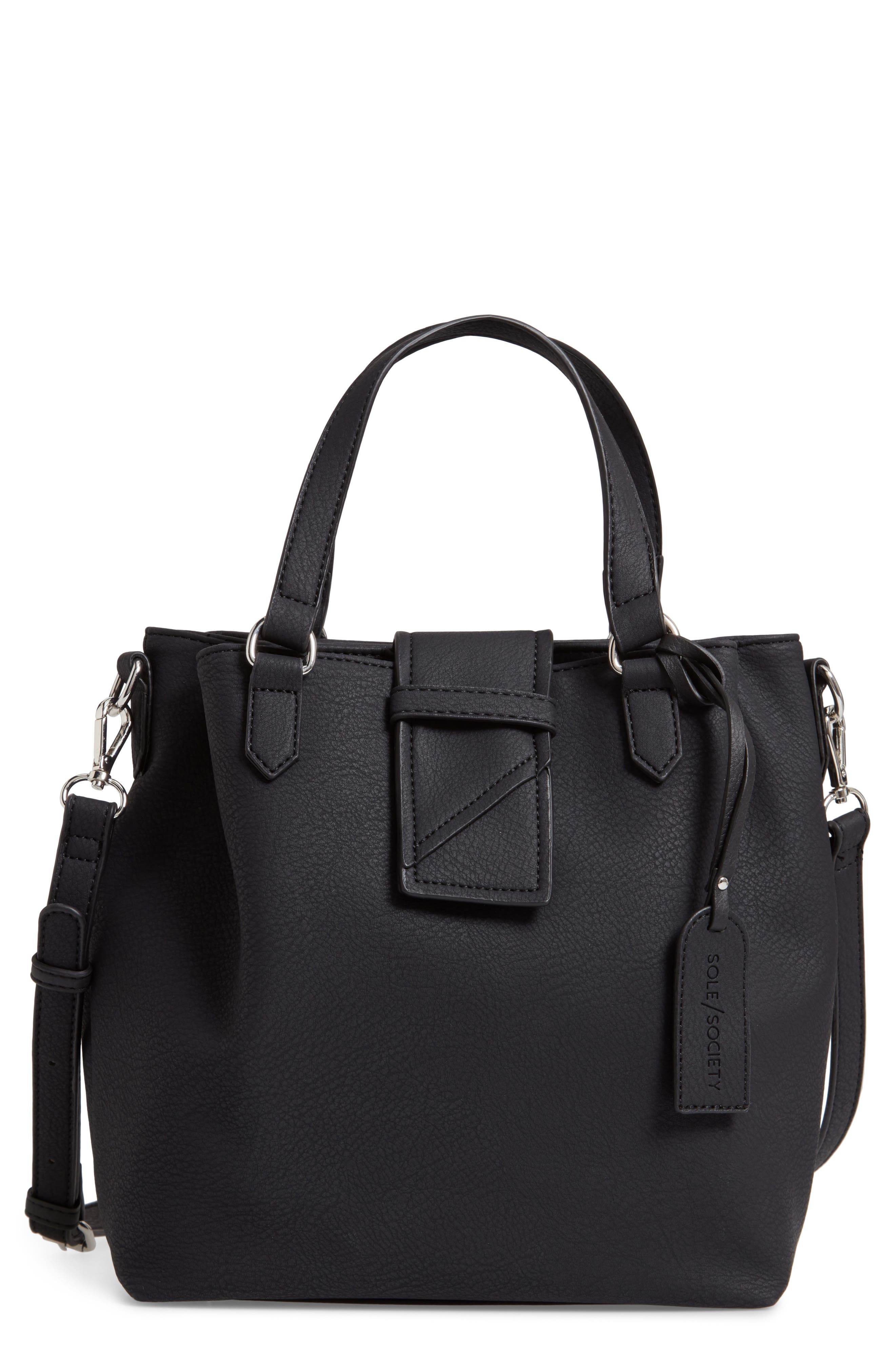 SOLE SOCIETY Valah Faux Leather Satchel, Main, color, BLACK