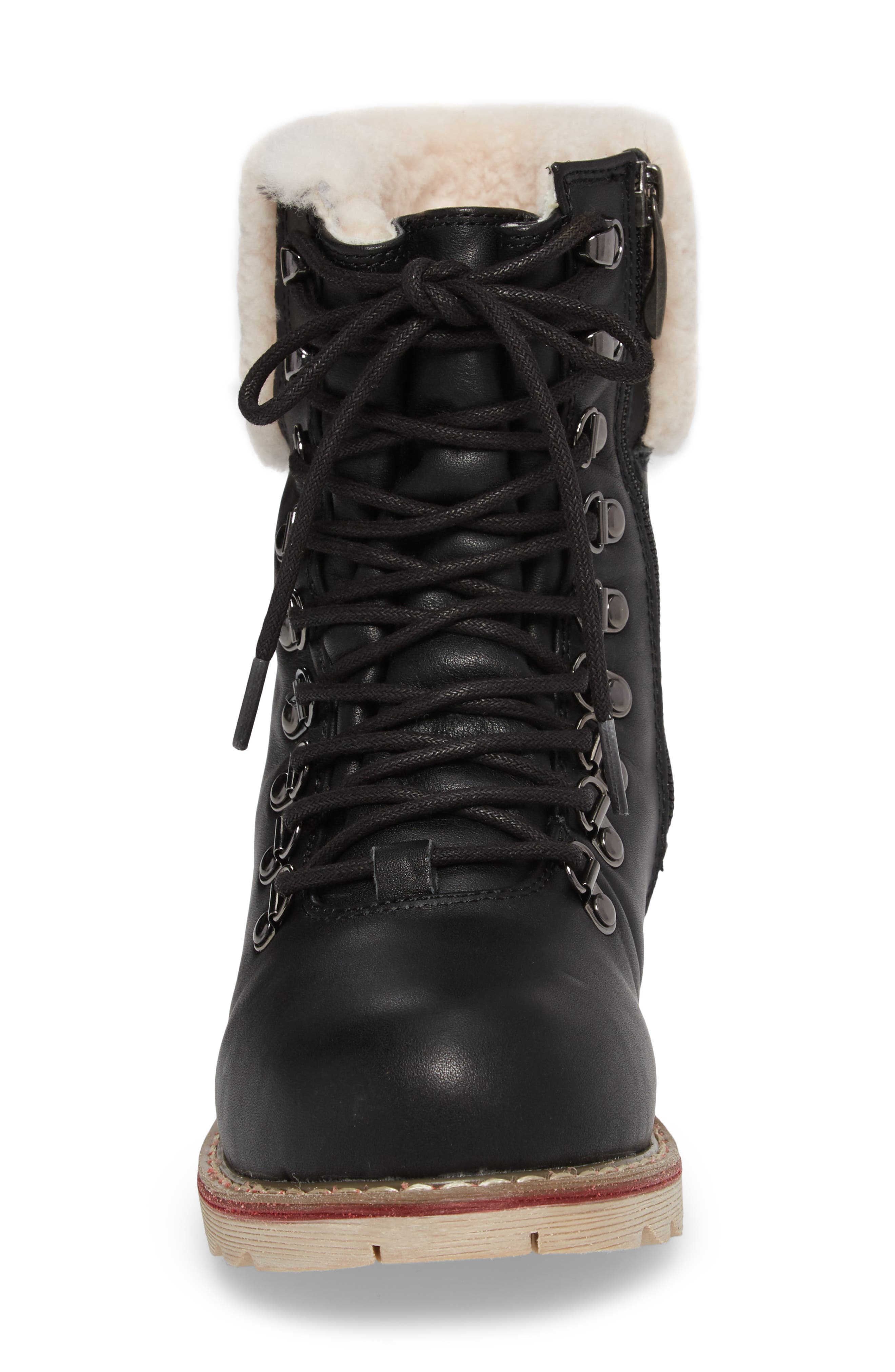 Lethbridge Waterproof Snow Boot with Genuine Shearling Cuff,                             Alternate thumbnail 4, color,                             BLACK LEATHER
