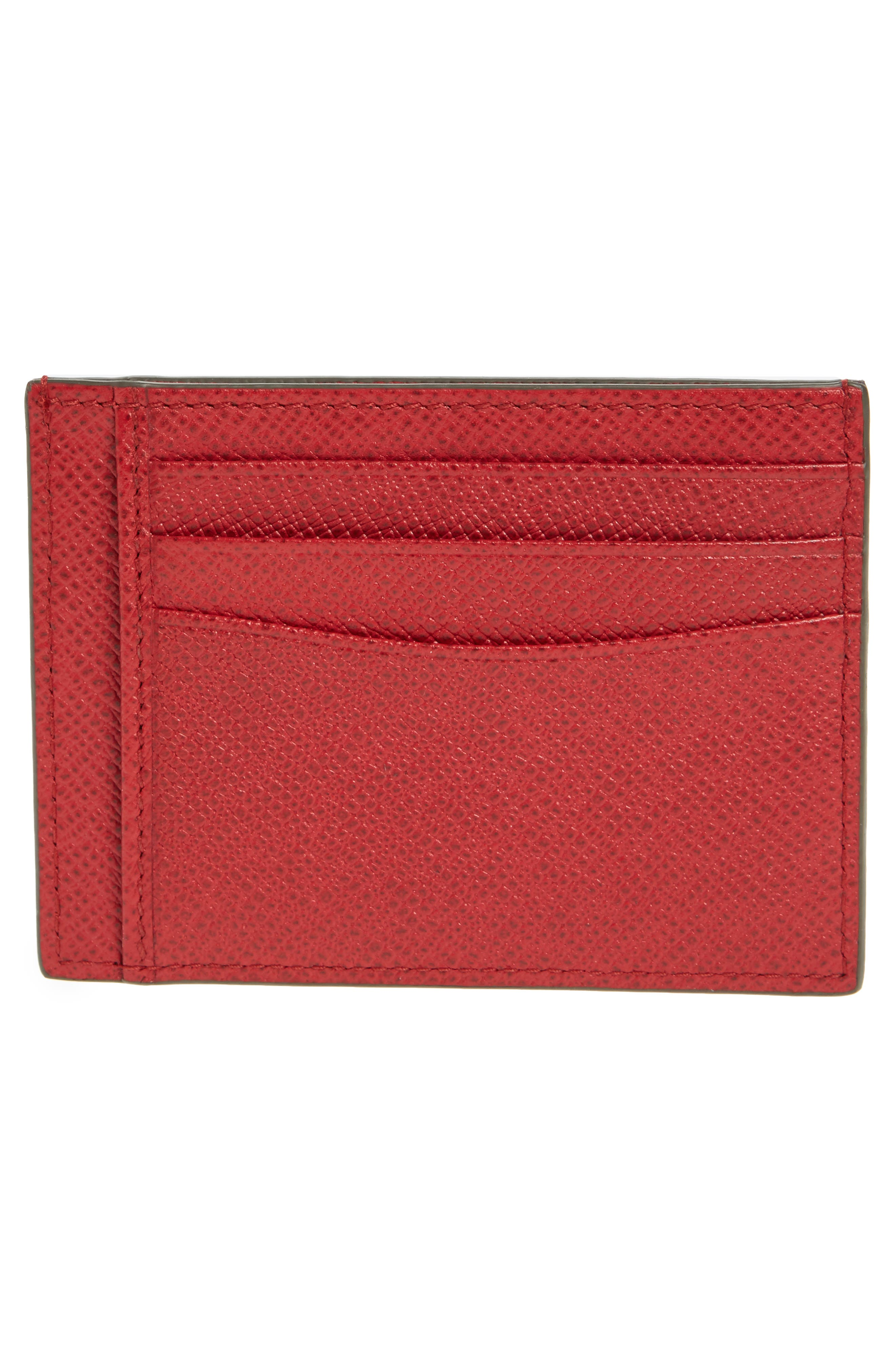 Signature Leather Card Case,                             Alternate thumbnail 2, color,                             MEDIUM RED
