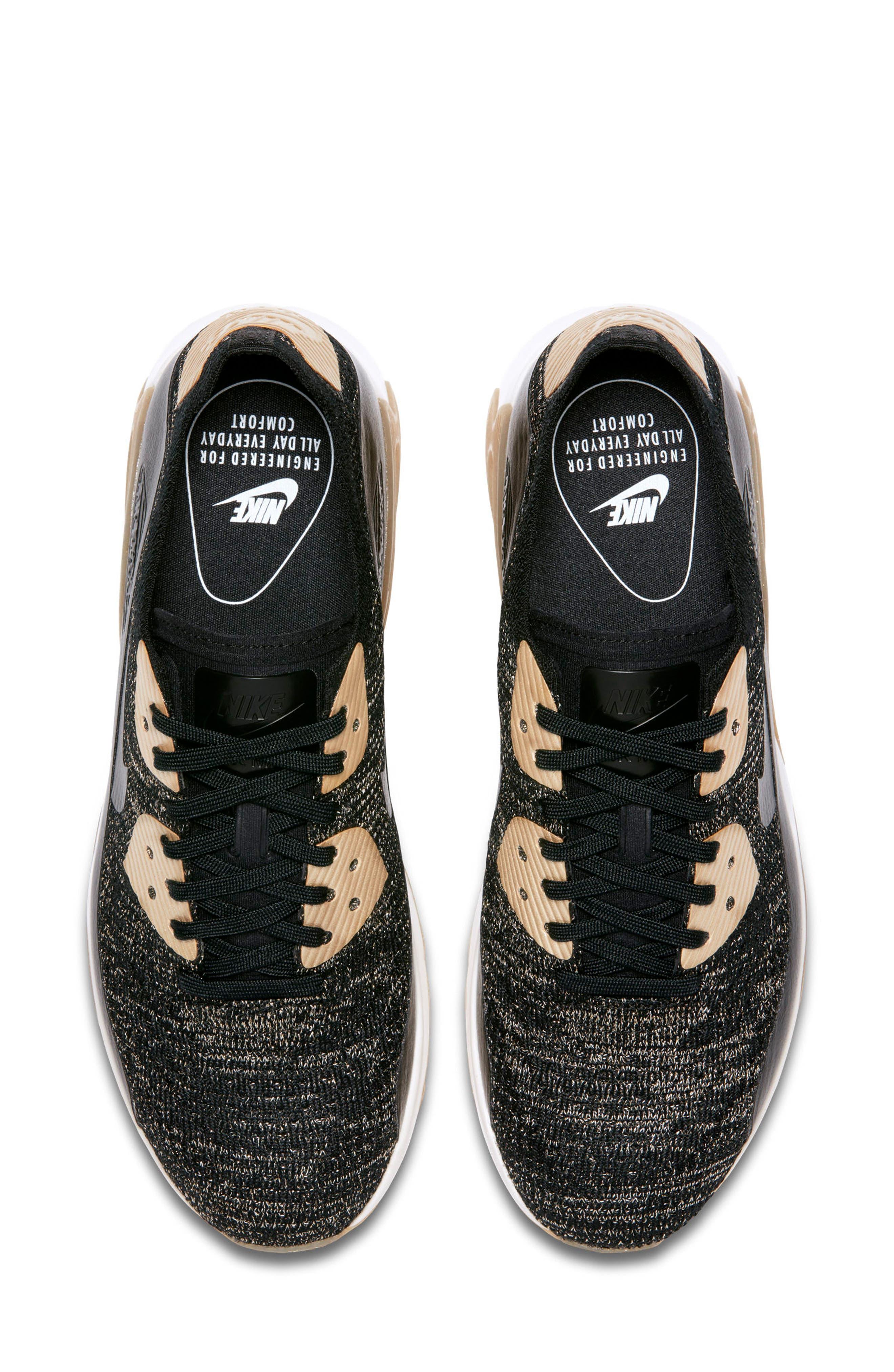 Air Max 90 Ultra 2.0 Flyknit Metallic Sneaker,                             Alternate thumbnail 4, color,                             001