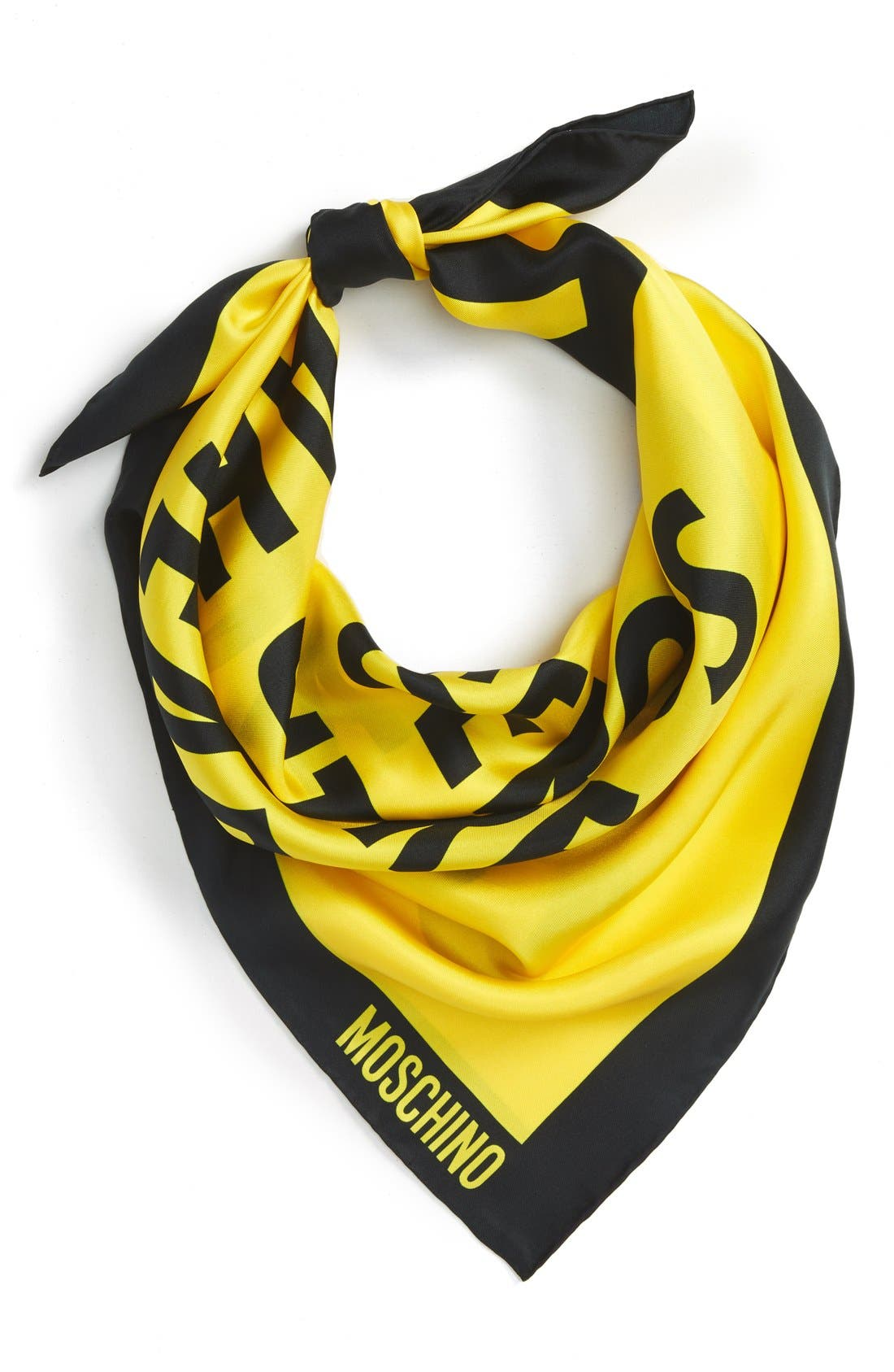 MOSCHINO 'Dangerous' Silk Scarf, Main, color, 700