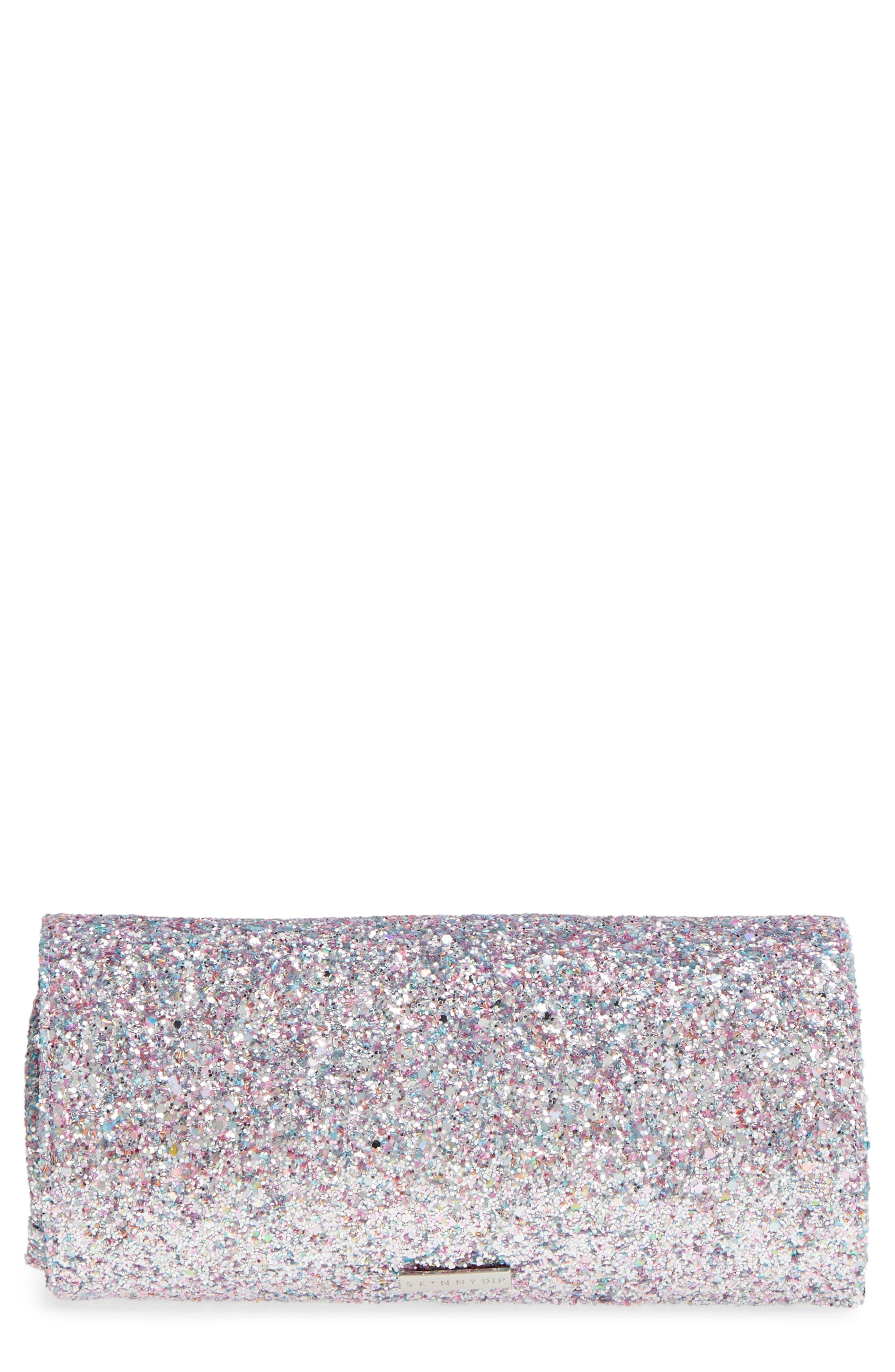 Skinny Dip Treasure Glitter Cosmetics Roll Bag,                             Main thumbnail 1, color,                             000