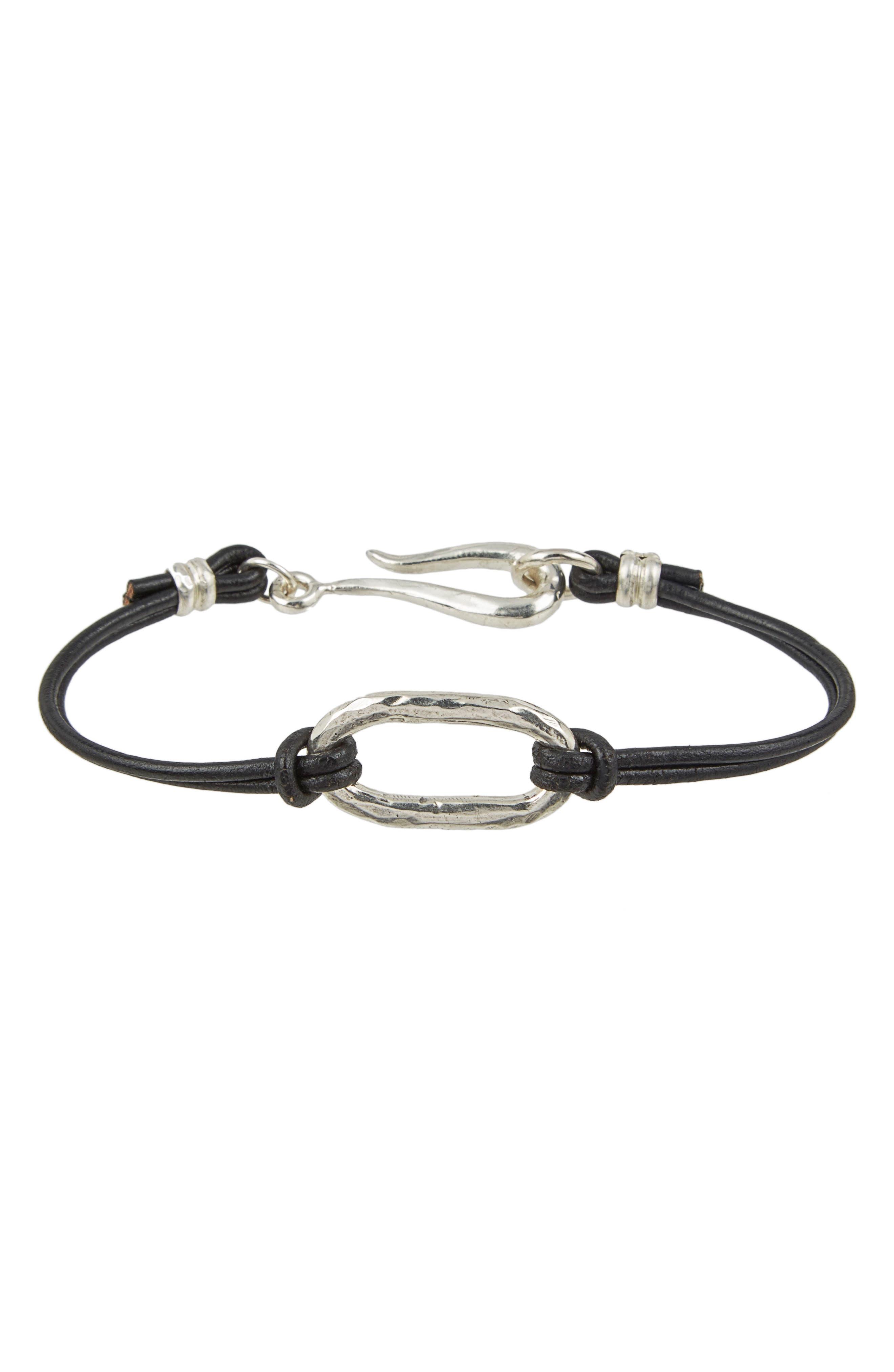 Leather & Sterling Bracelet,                         Main,                         color, 040