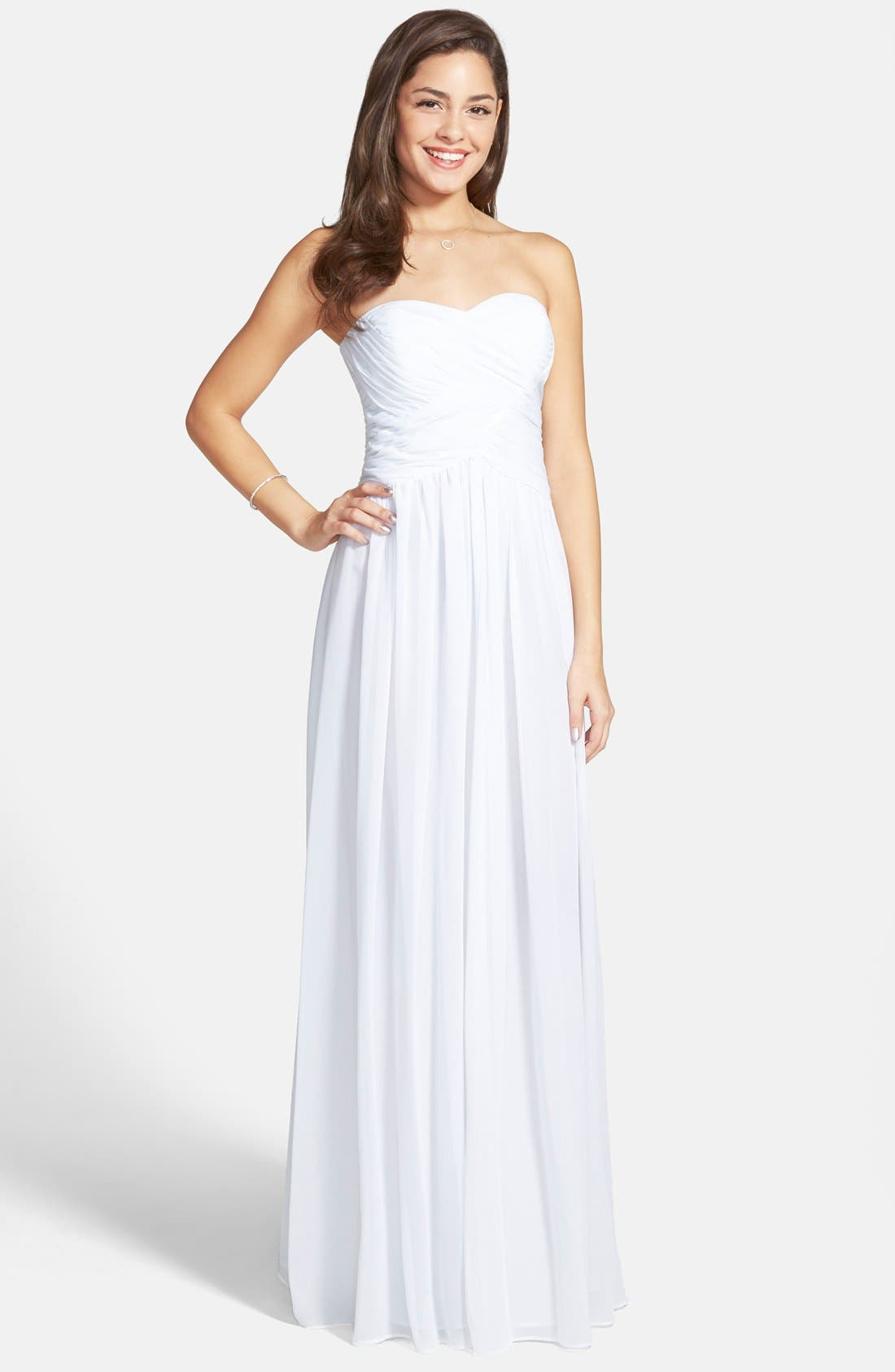 Strapless Ruched Chiffon Gown,                             Main thumbnail 10, color,