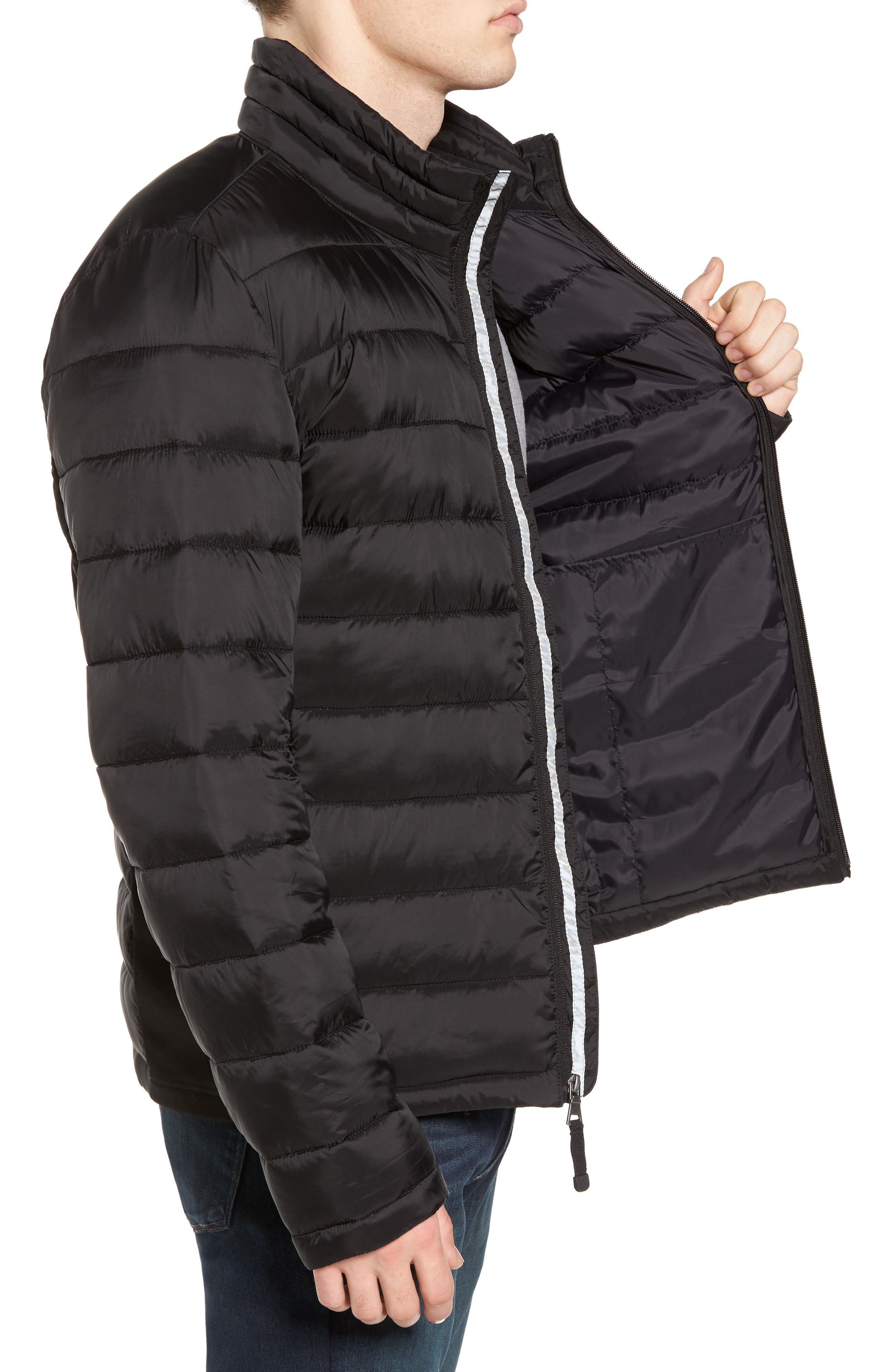 Water Resistant Packable Puffer Jacket,                             Alternate thumbnail 3, color,                             001