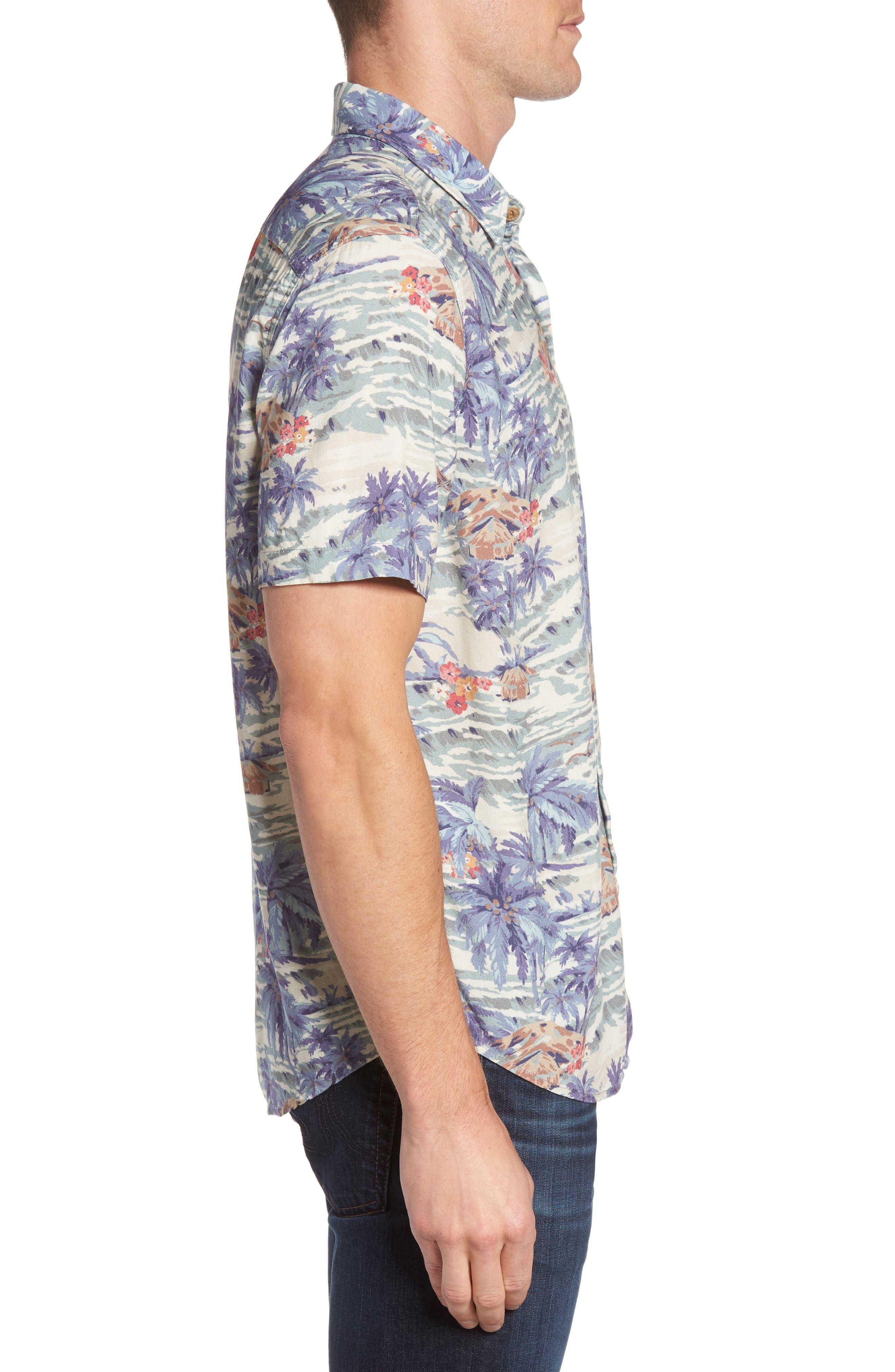Hawaiian Print Rayon Shirt,                             Alternate thumbnail 3, color,                             453
