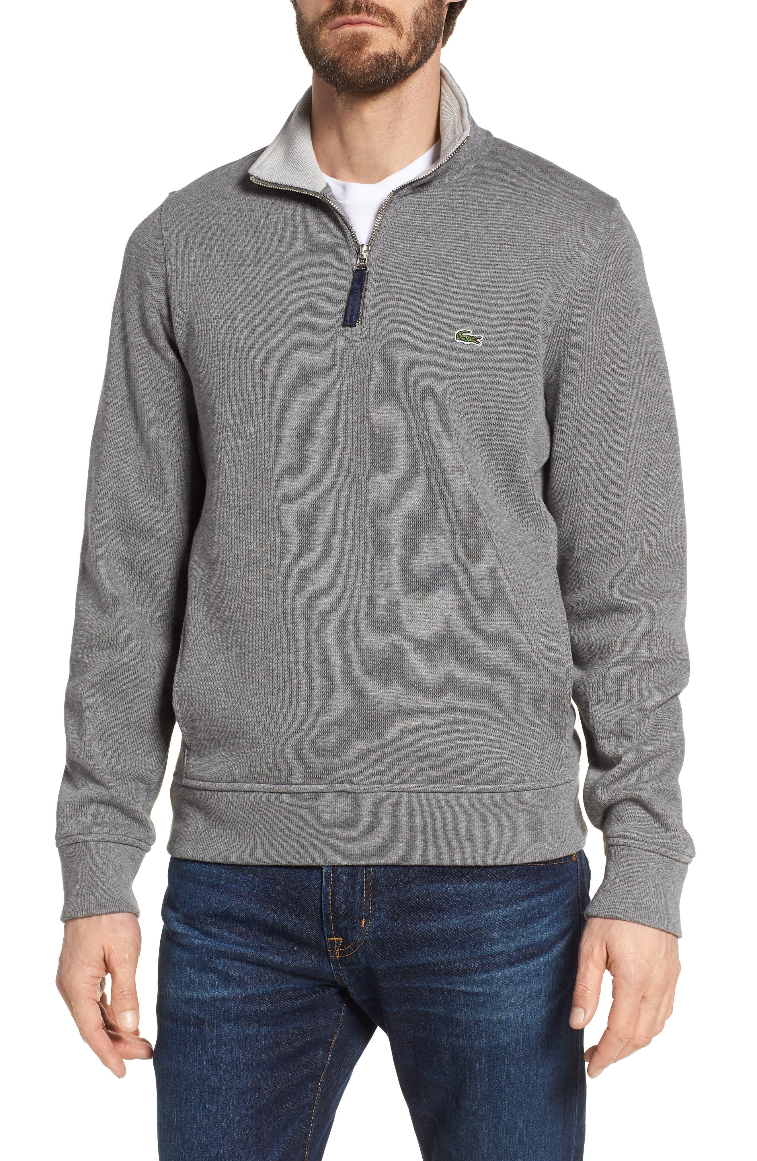 Quarter Zip Cotton Interlock Sweatshirt,                         Main,                         color, GALAXITE CHINE/ NIMBUS