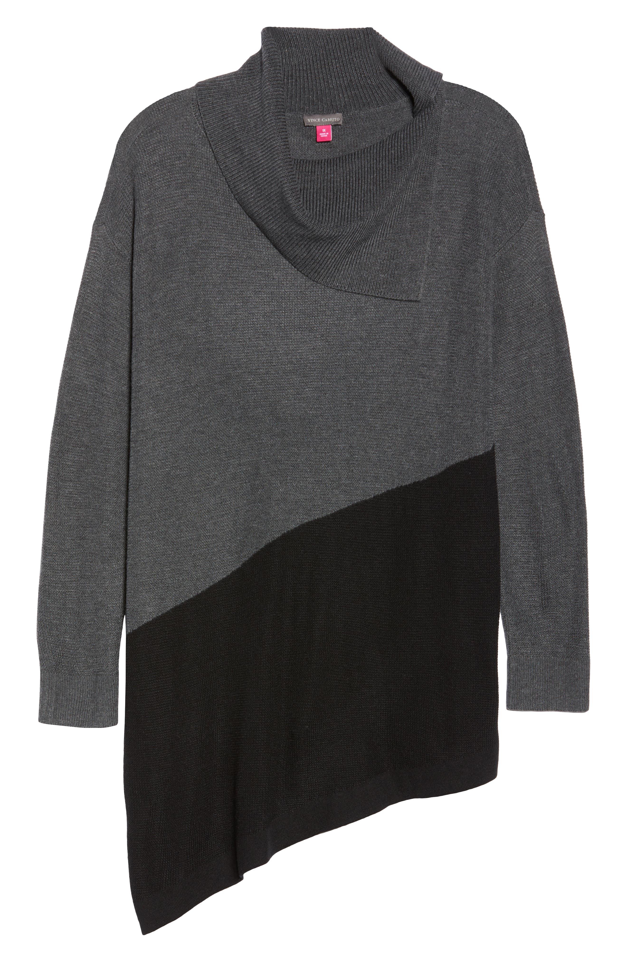 Asymmetrical Colorblock Sweater,                             Alternate thumbnail 6, color,                             MEDIUM HEATHER GREY