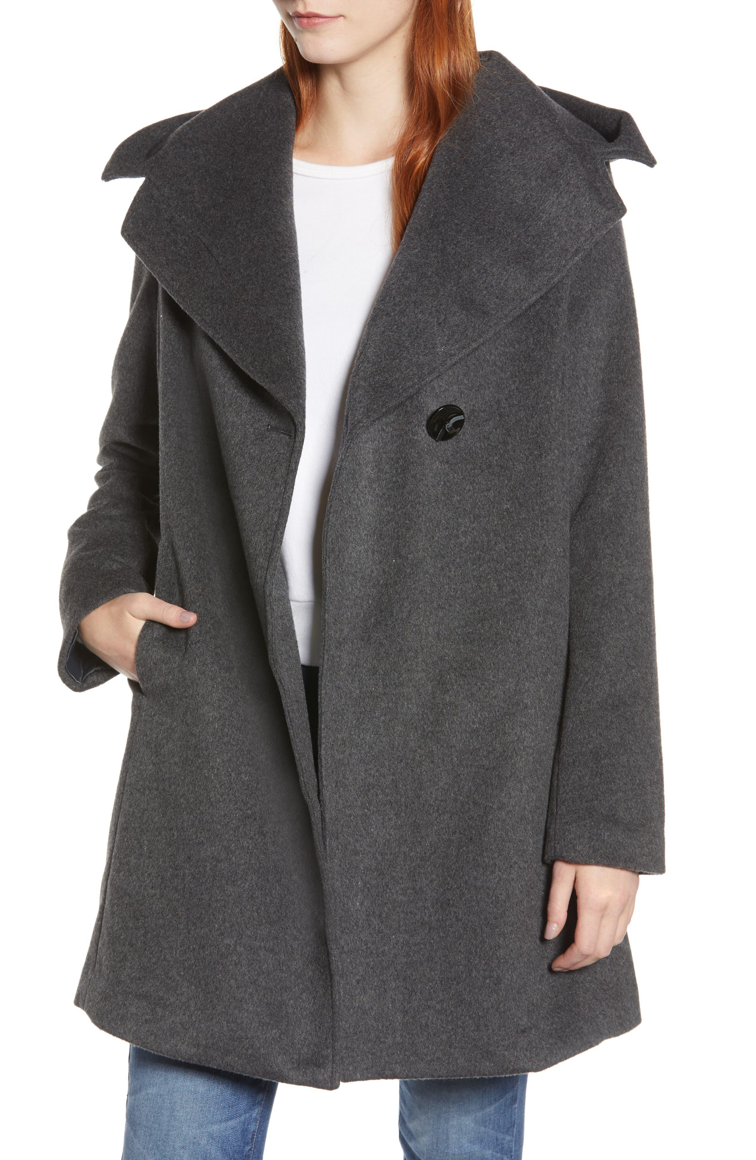 Shawl Collar Hooded Coat,                             Main thumbnail 1, color,                             CHARCOAL