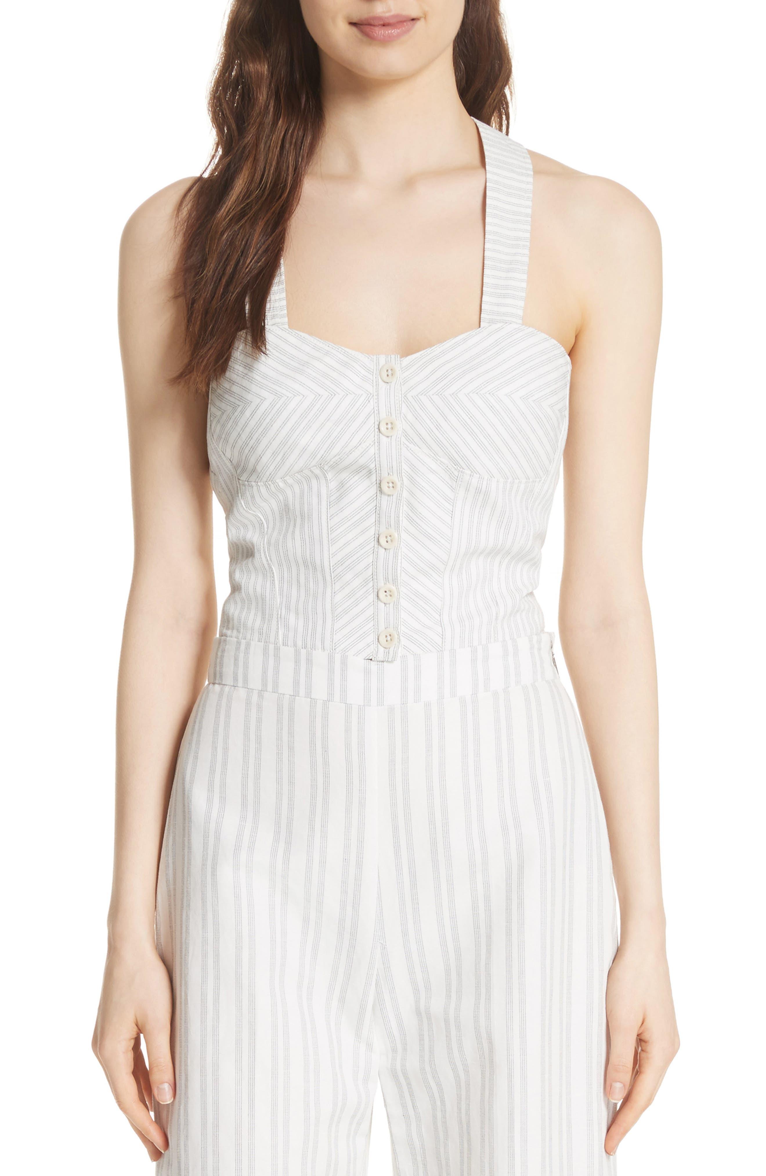 REBECCA TAYLOR Crisscross Back Stripe Cotton Linen Top, Main, color, 199