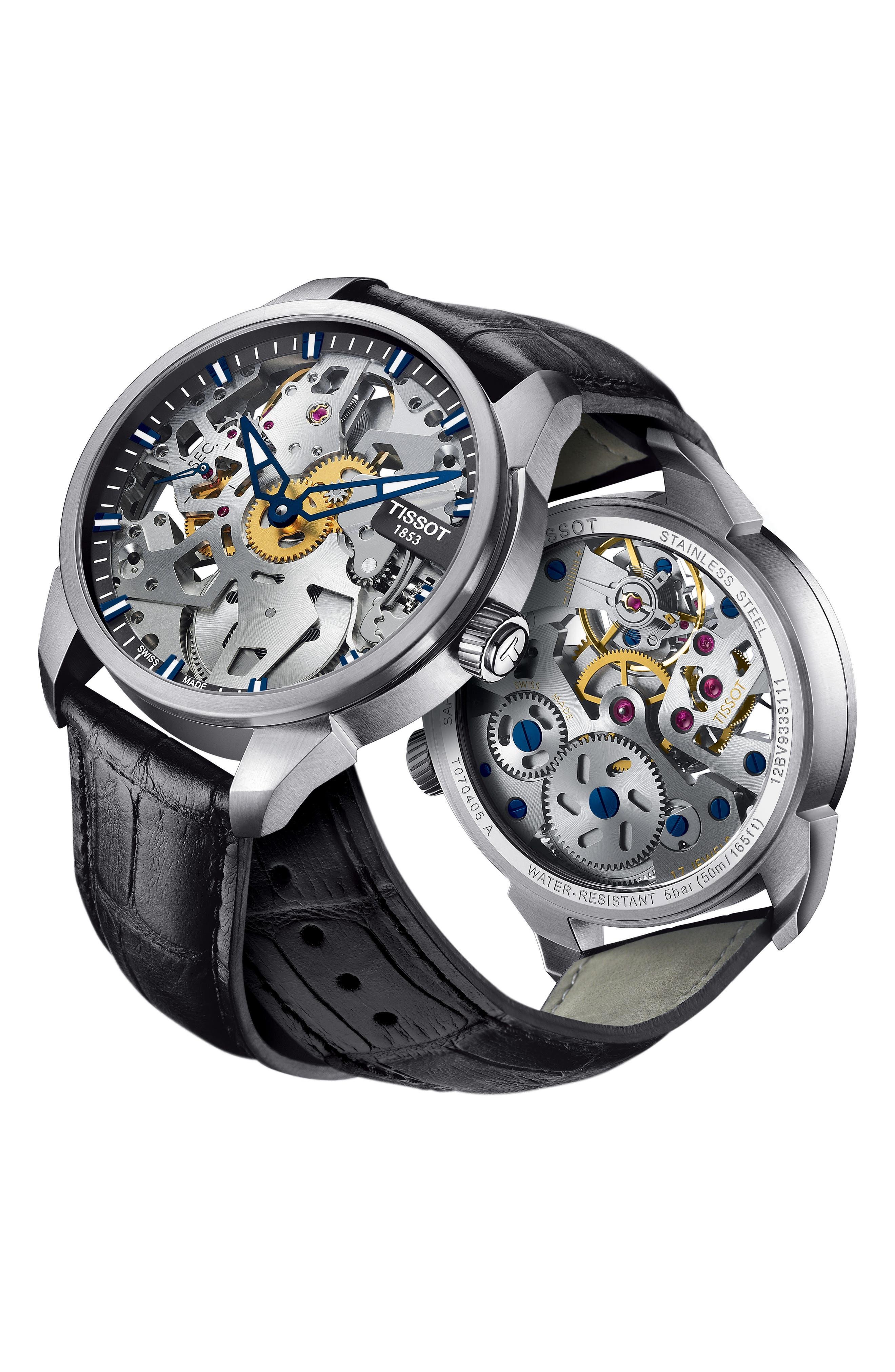TISSOT,                             T-Complicated Squellette Mechanical Watch, 43mm,                             Alternate thumbnail 4, color,                             BLACK/ SILVER