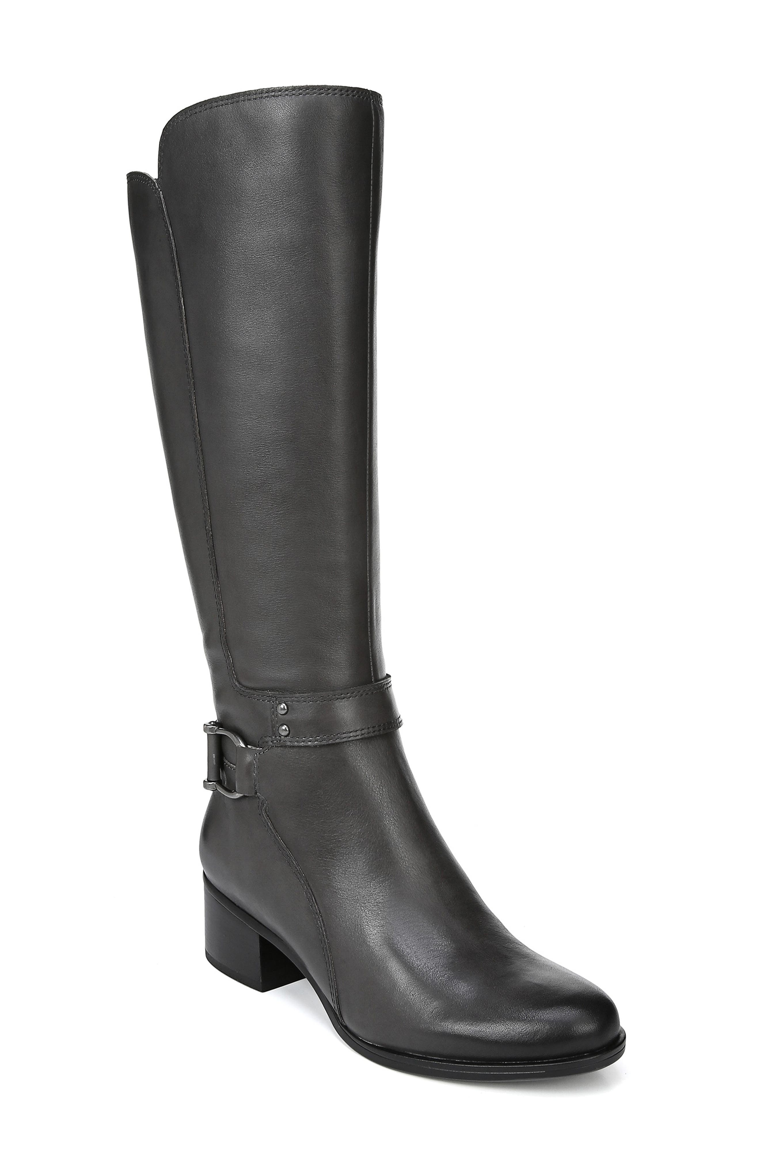 Dane Knee High Riding Boot,                         Main,                         color, GREY LEATHER