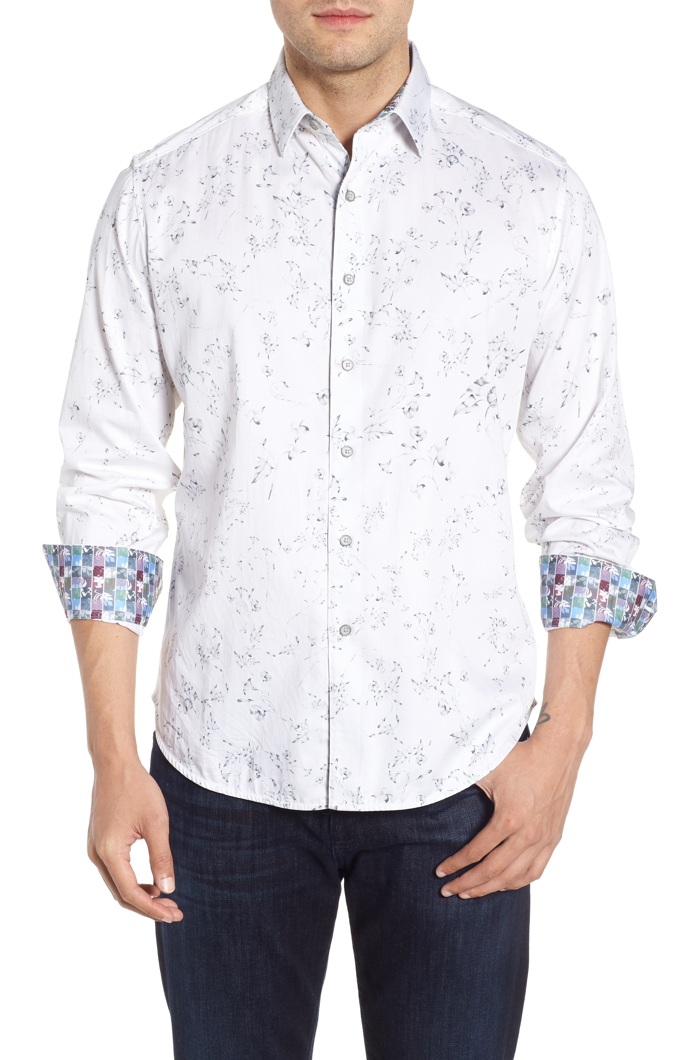 De La Cruz Classic Fit Sport Shirt,                         Main,                         color, 100