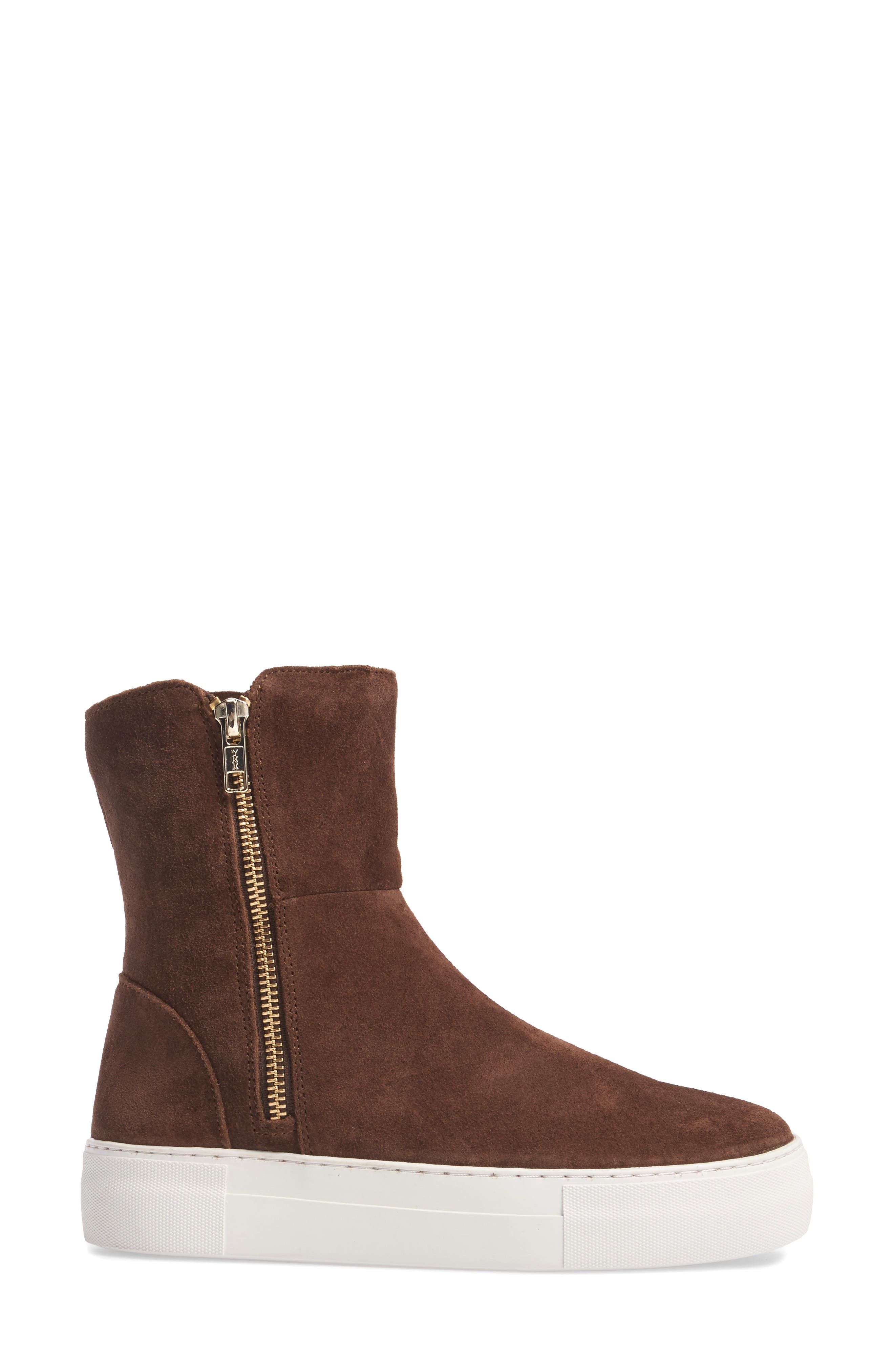 Allie Faux Fur Lined Platform Boot,                             Alternate thumbnail 3, color,                             BROWN SUEDE