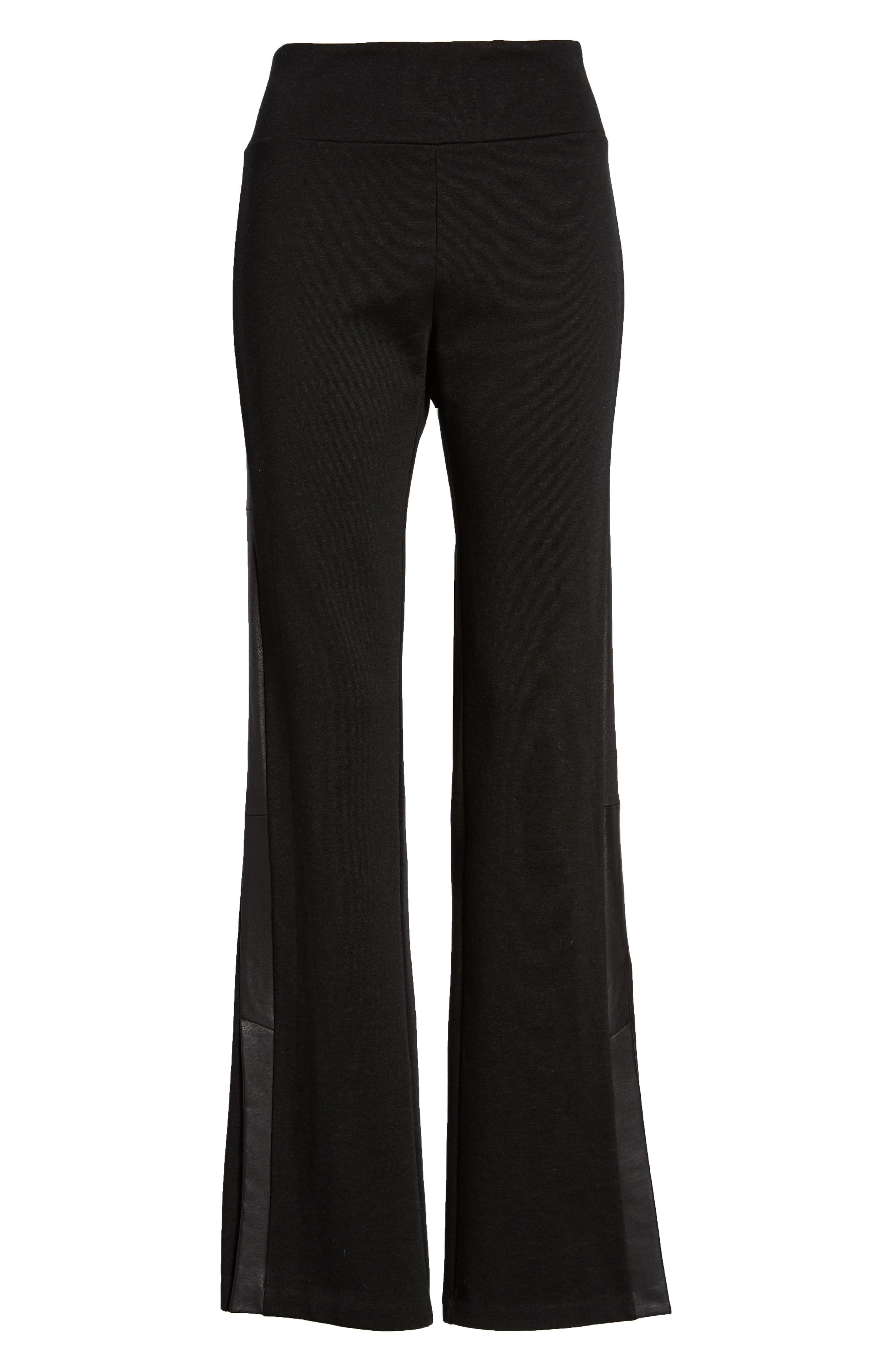 Slim Tuxedo Pants with Leather Stripe,                             Alternate thumbnail 6, color,                             001